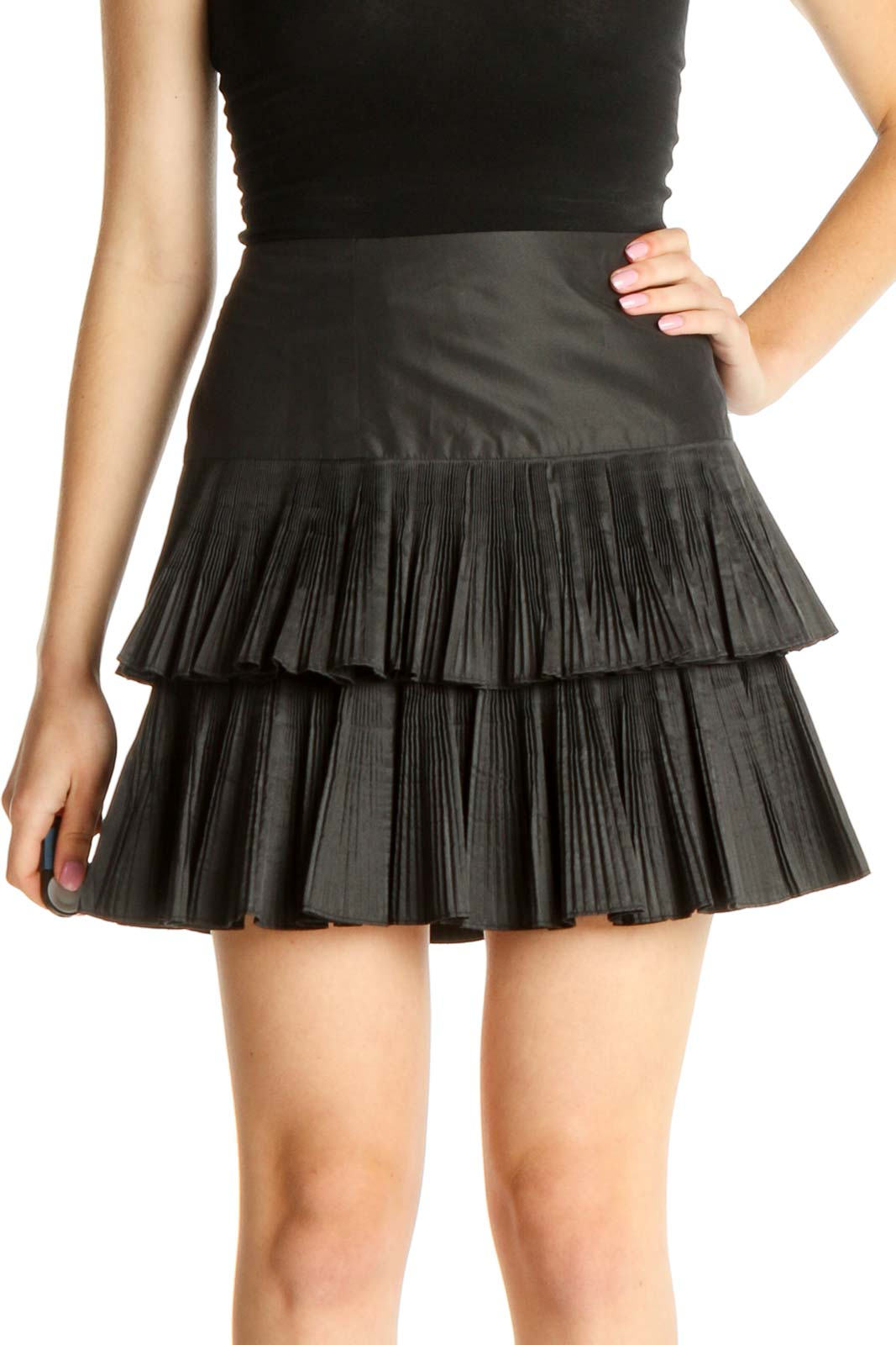 Black Party Flared Skirt Front