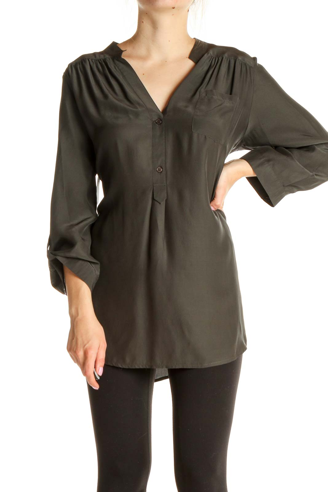 Gray Solid All Day Wear Silk Shirt Front