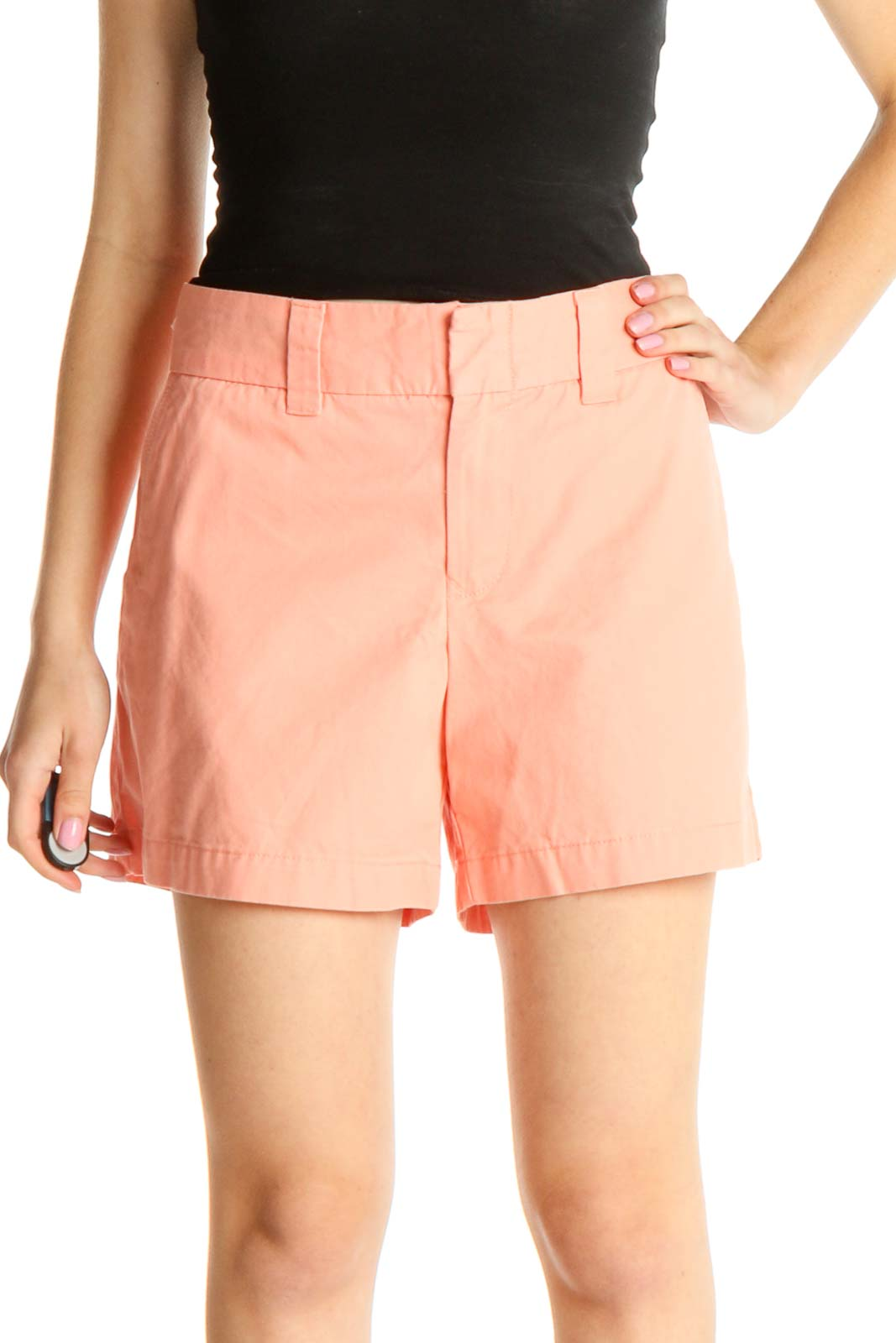 Pink Solid Casual Shorts Front