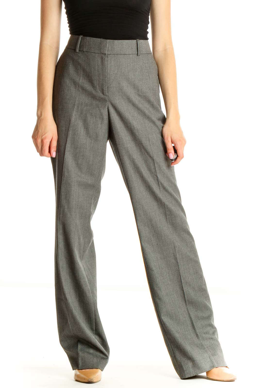 Gray Solid All Day Wear Trousers Front