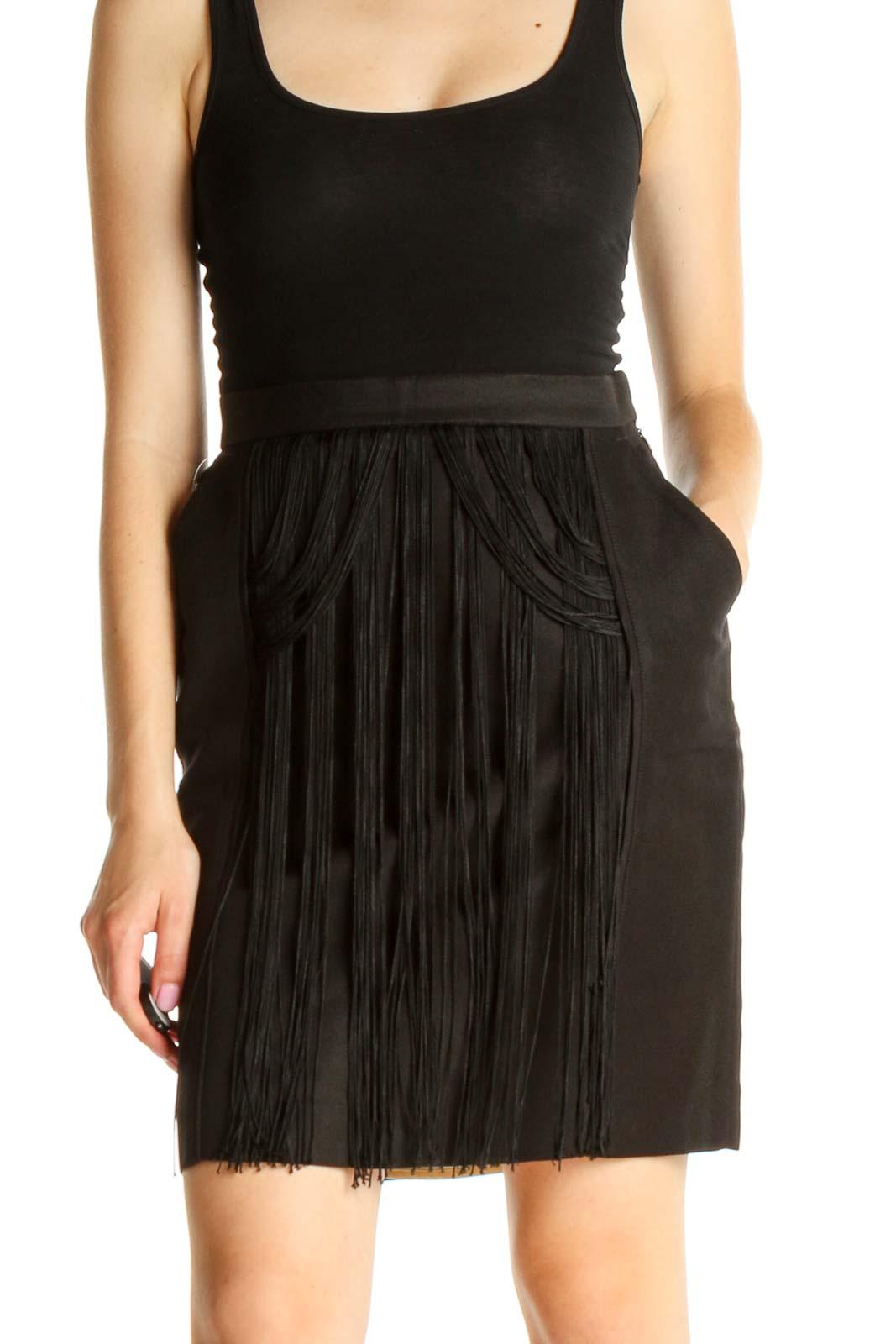 Black Solid Retro Fringe Pencil Skirt Front
