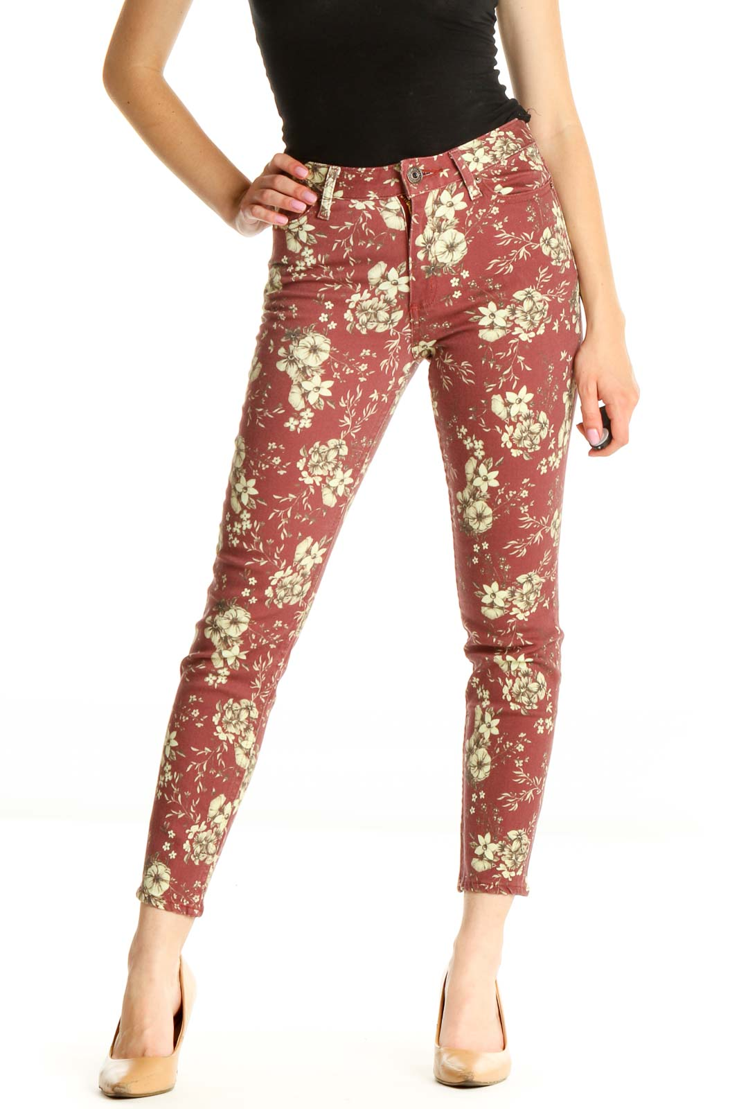Red Floral Skinny Jeans Front