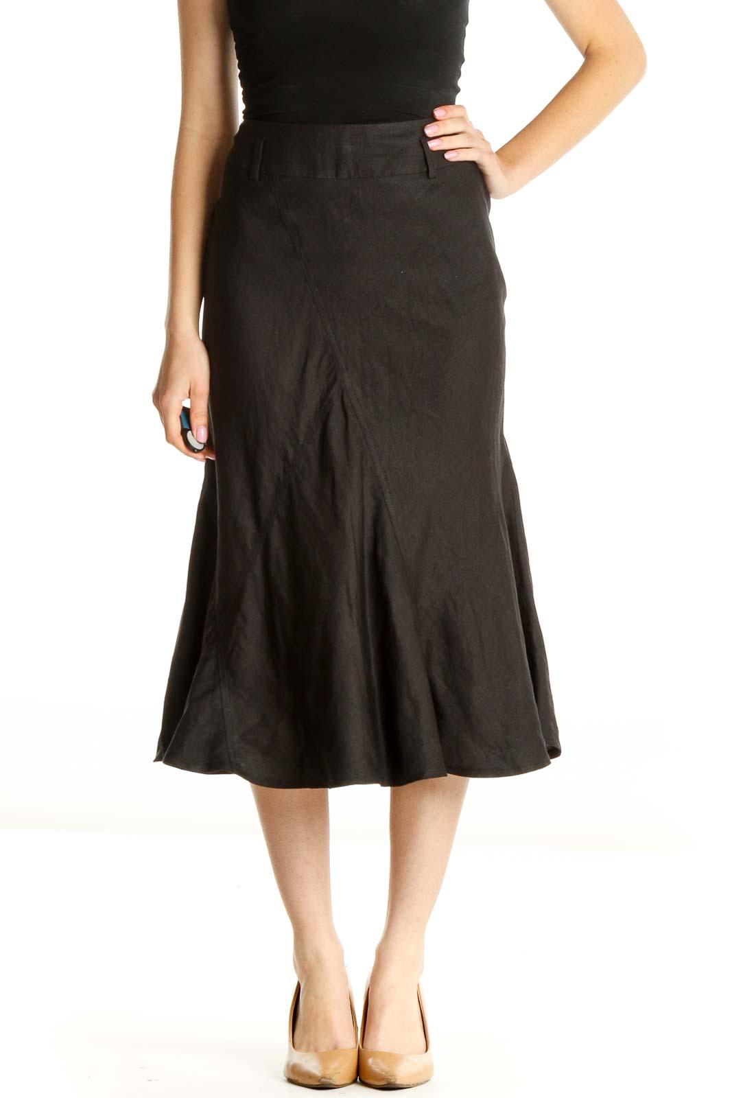 Black Solid Brunch Flared Skirt Front