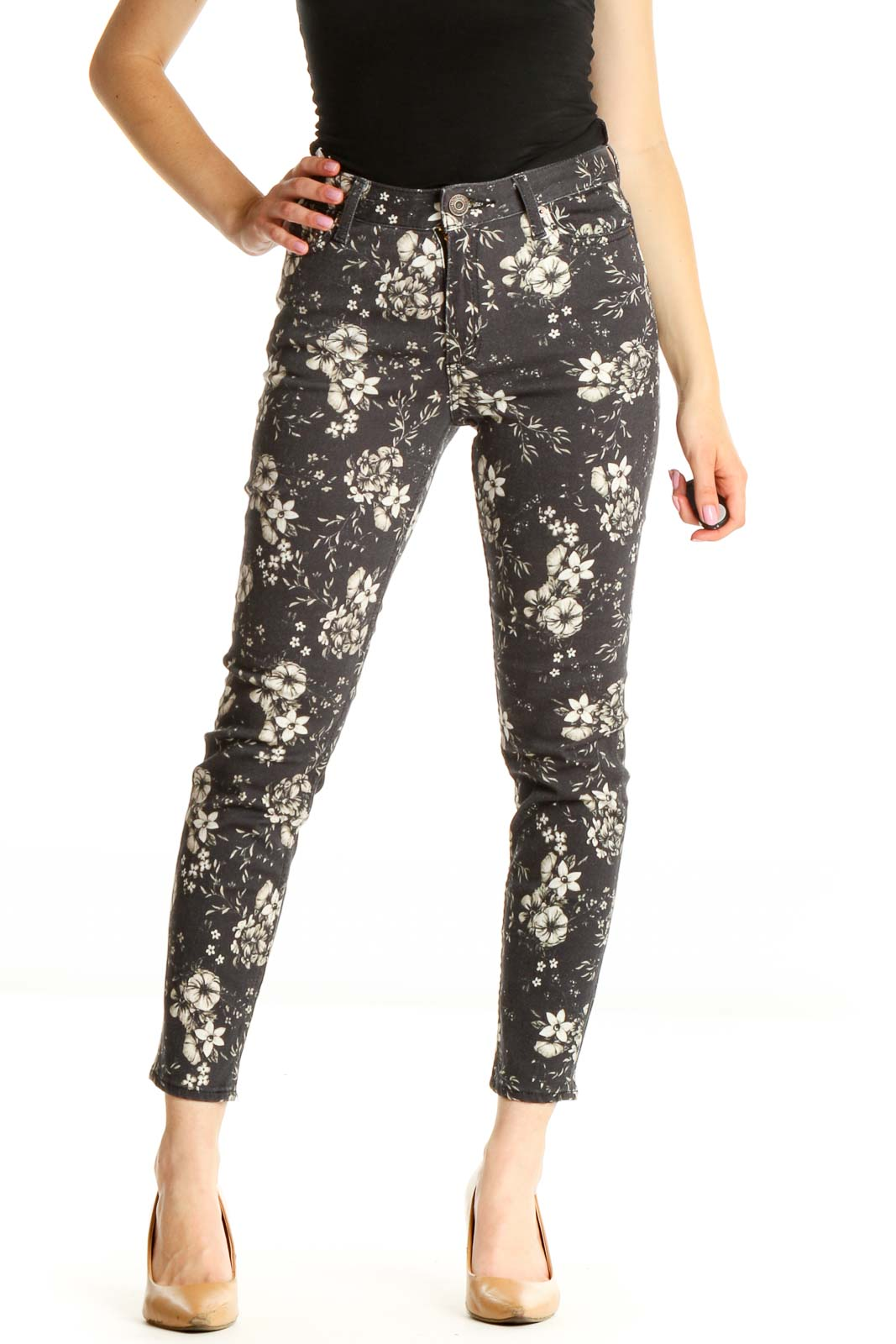 Gray Floral Skinny Jeans Front