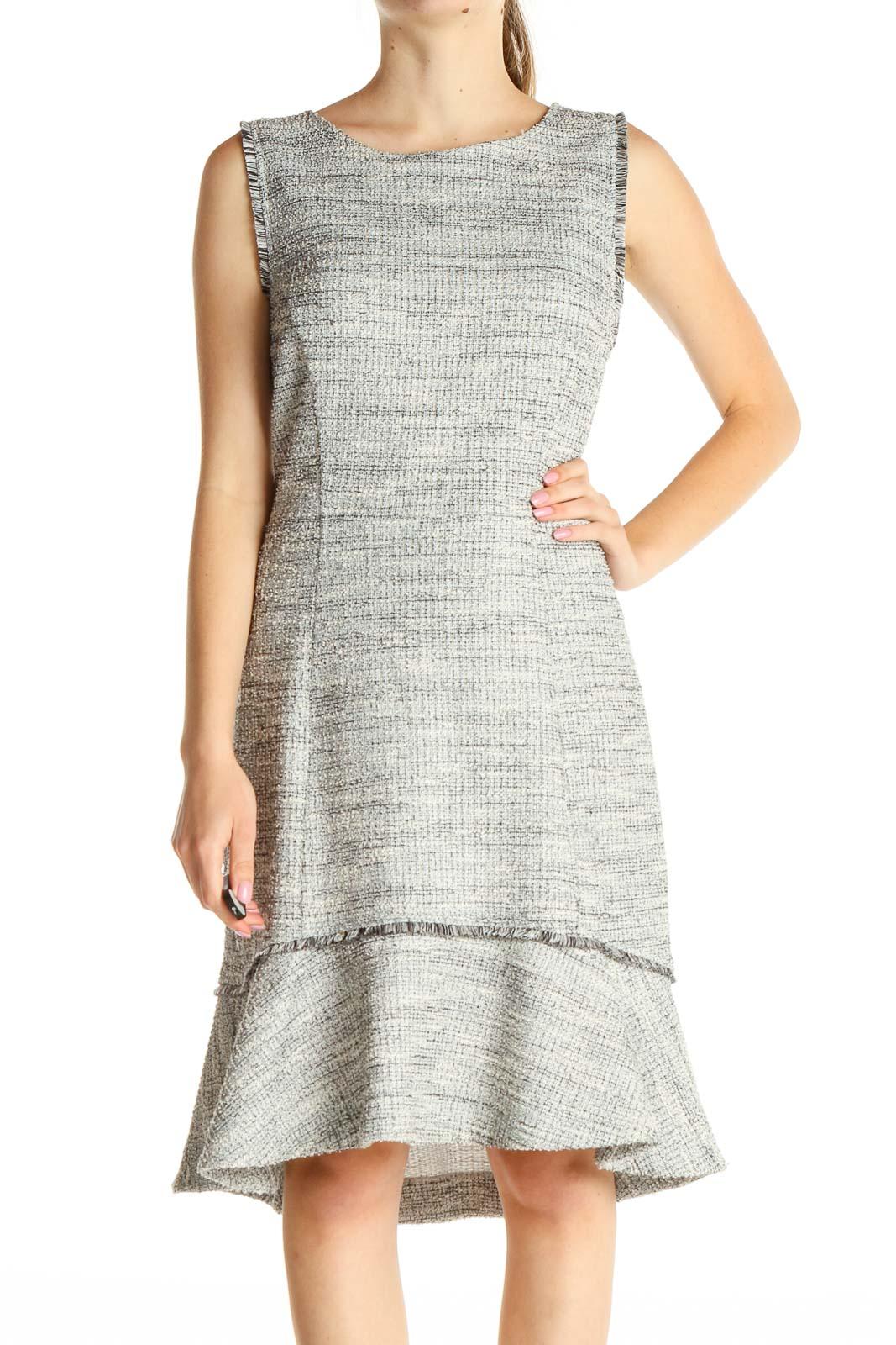 Gray Work Sheath Dress Front