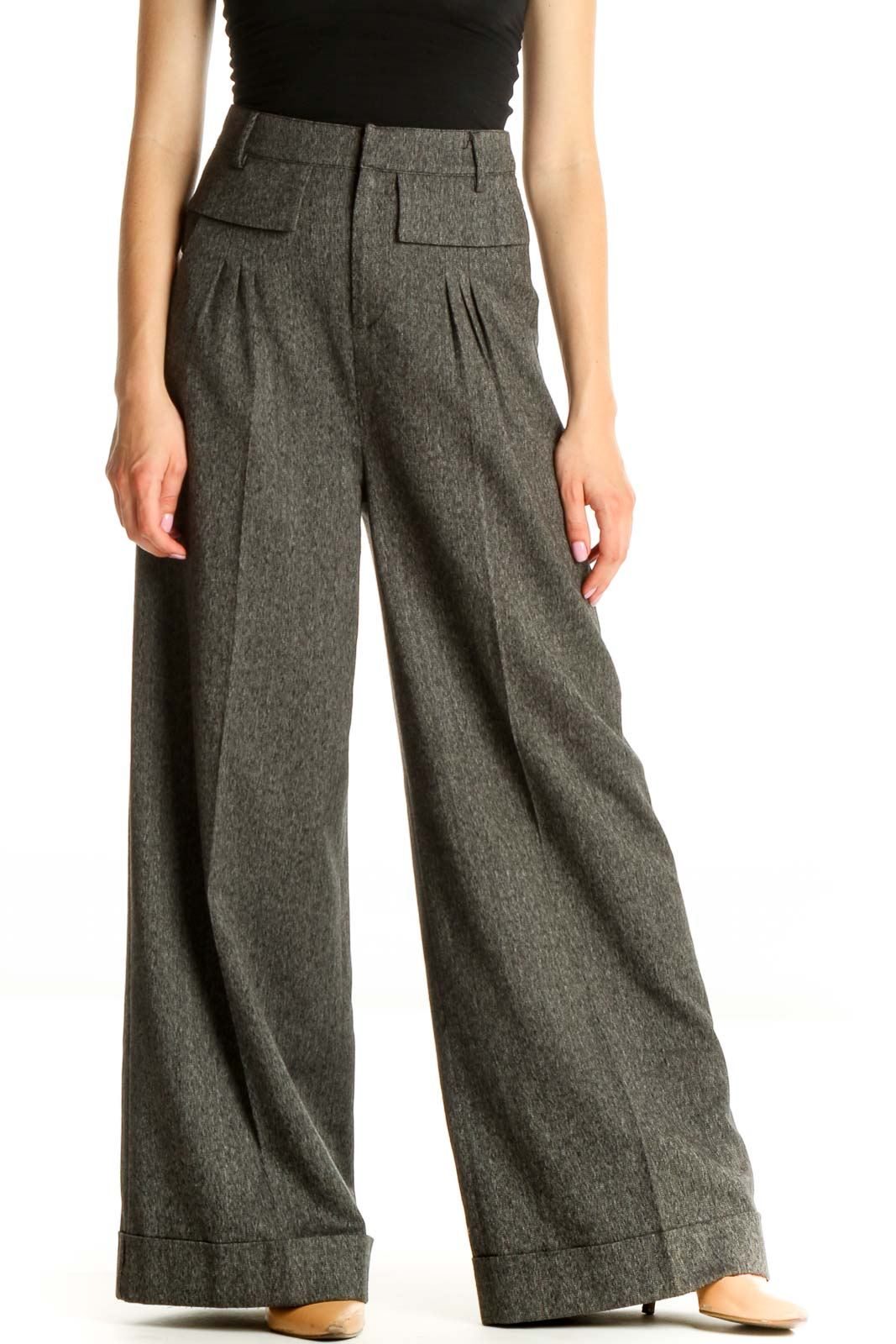 Gray Textured All Day Wear Palazzo Pants Front