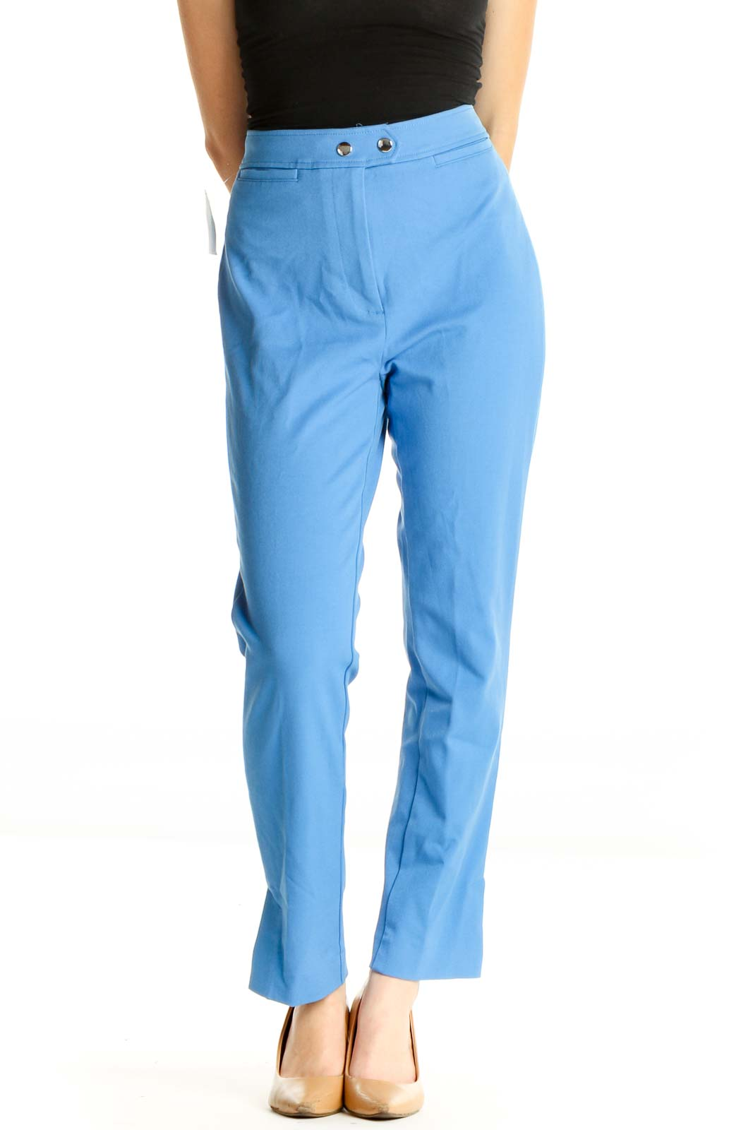 Blue Solid Casual Trousers Front