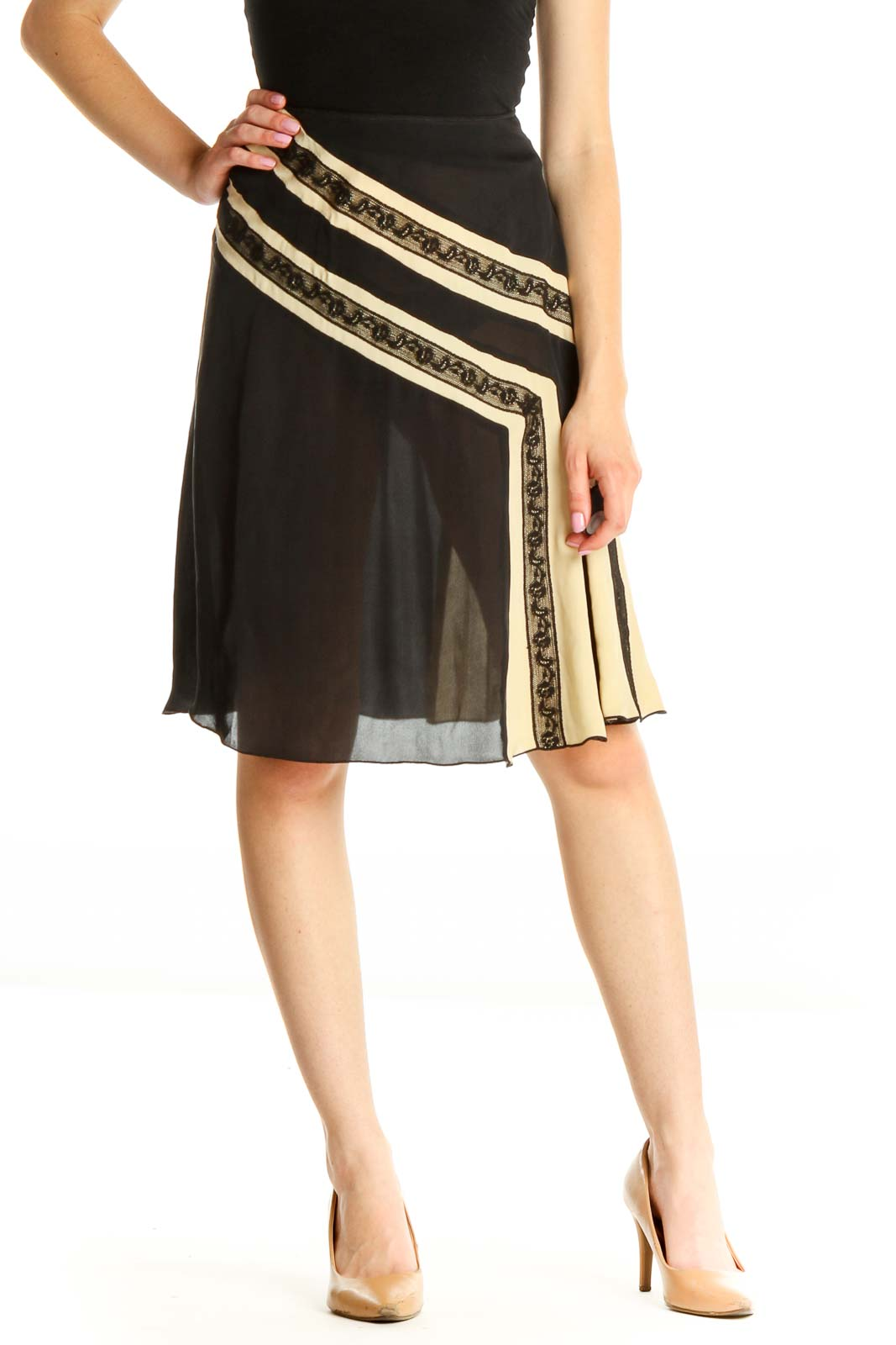 Black Colorblock Chic A-Line Skirt Front