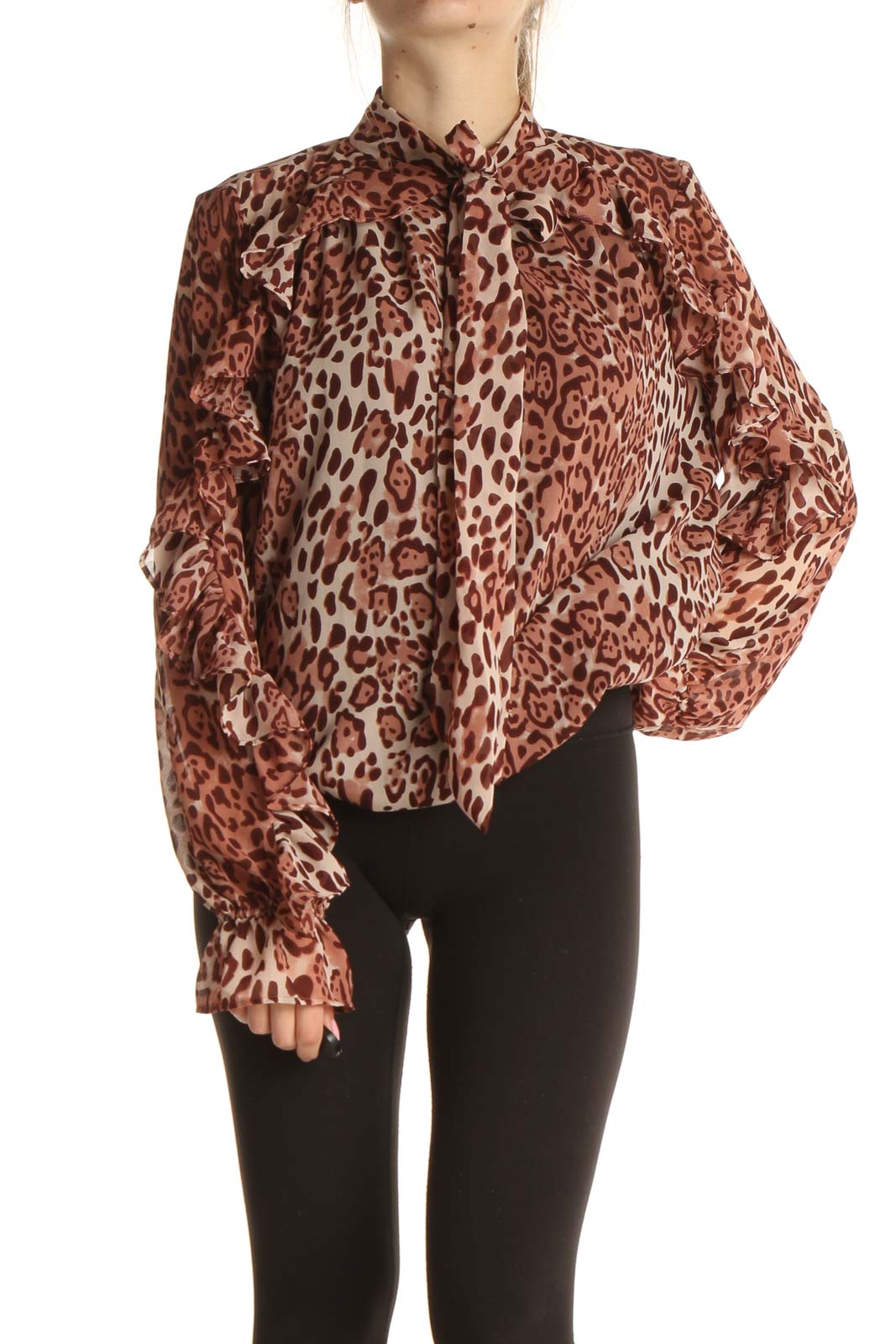 Brown Animal Print Chic Blouse Front