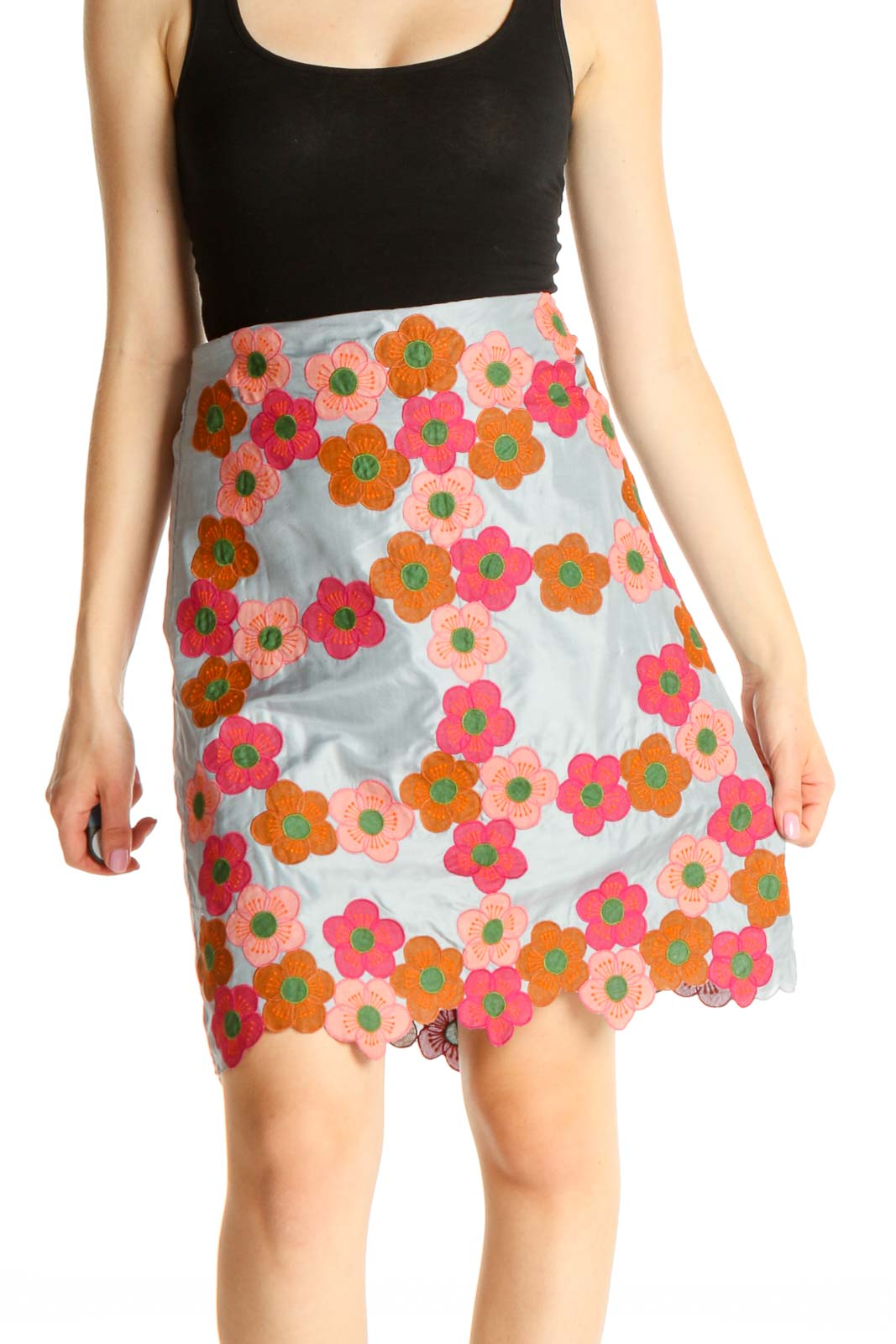 Blue Floral Print Holiday A-Line Skirt Front
