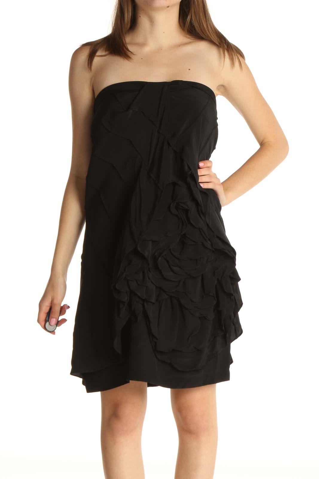 Black Solid Retro Dress Front