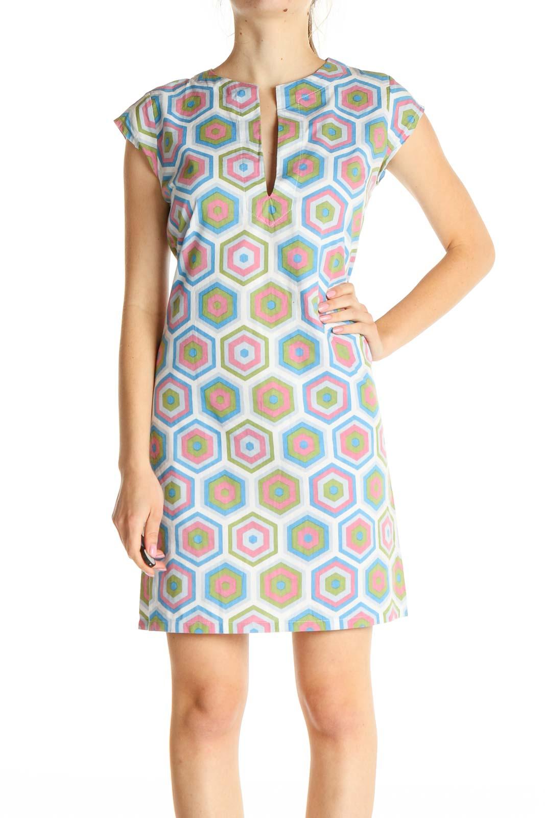 Blue Geometric Print A-Line Dress Front