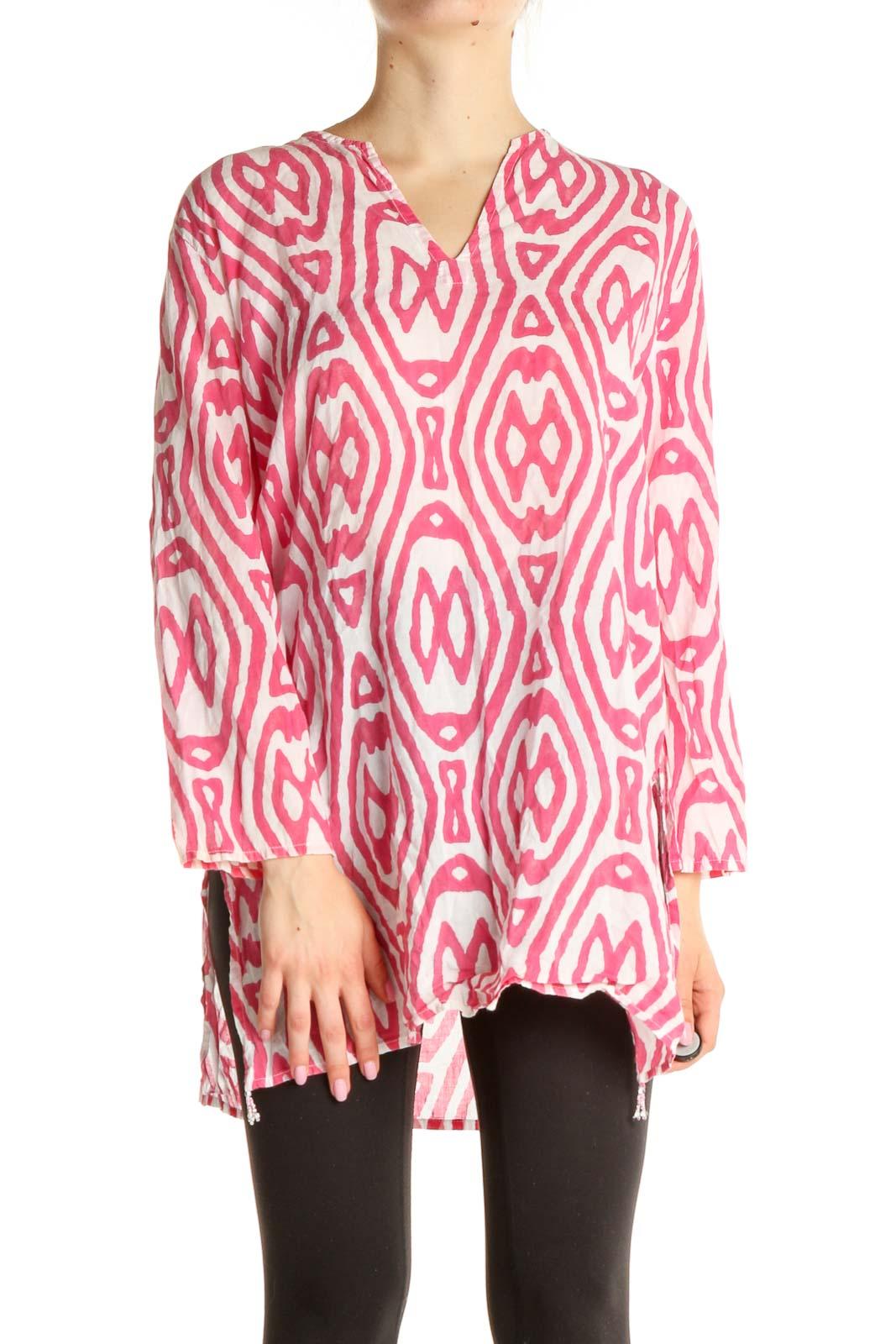 Pink Printed Bohemian Blouse Front