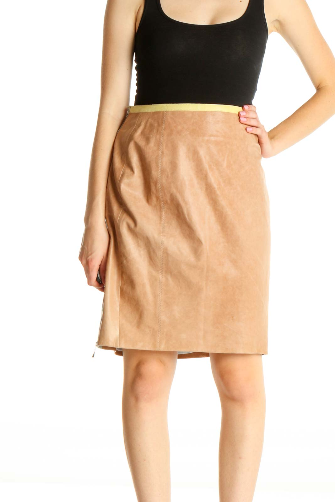 Brown Brunch Leather A-Line Skirt Front