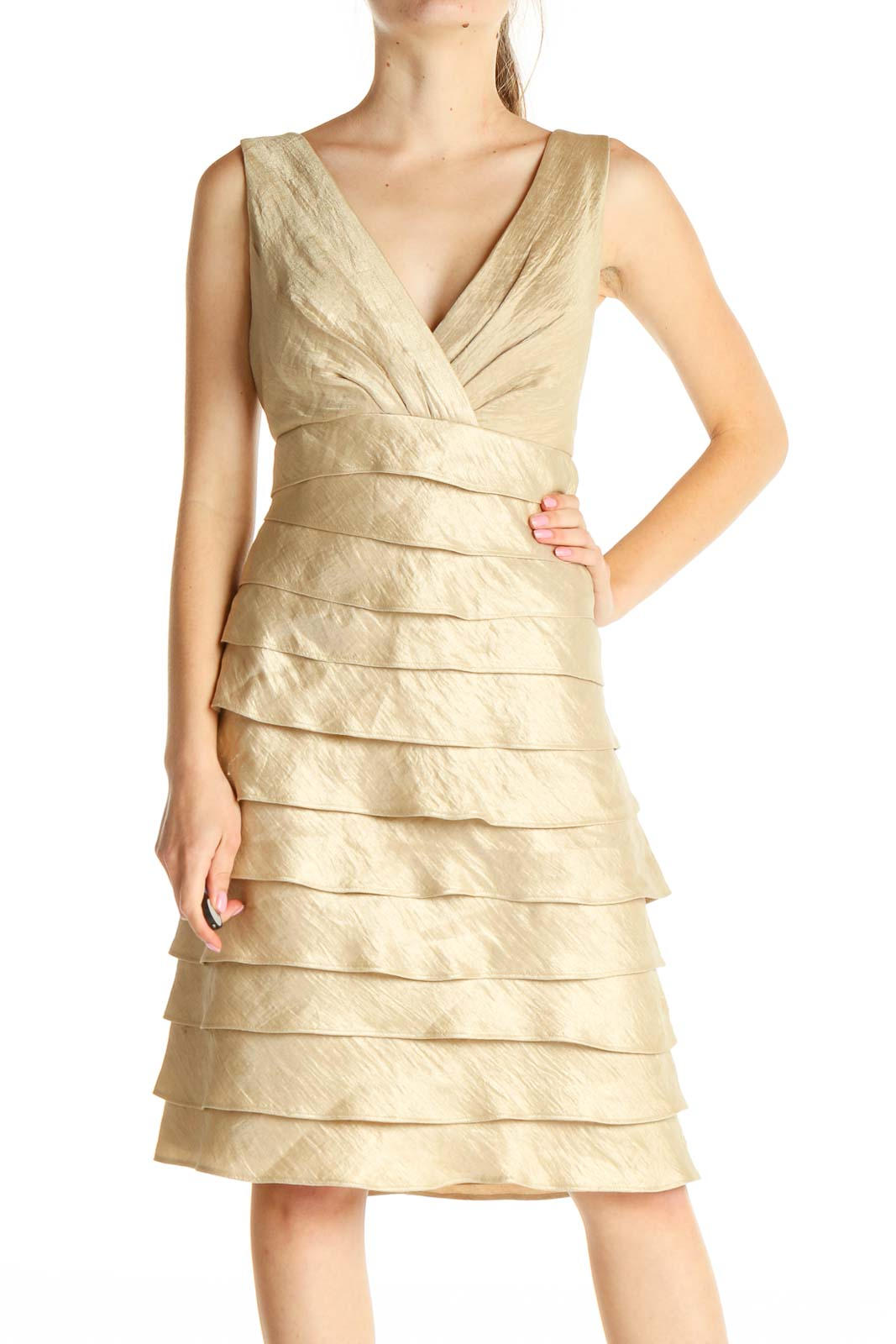 Gold Shimmer Classic Dress Front