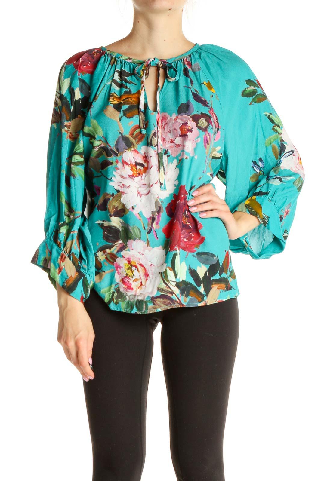 Blue Floral Print Blouse Front