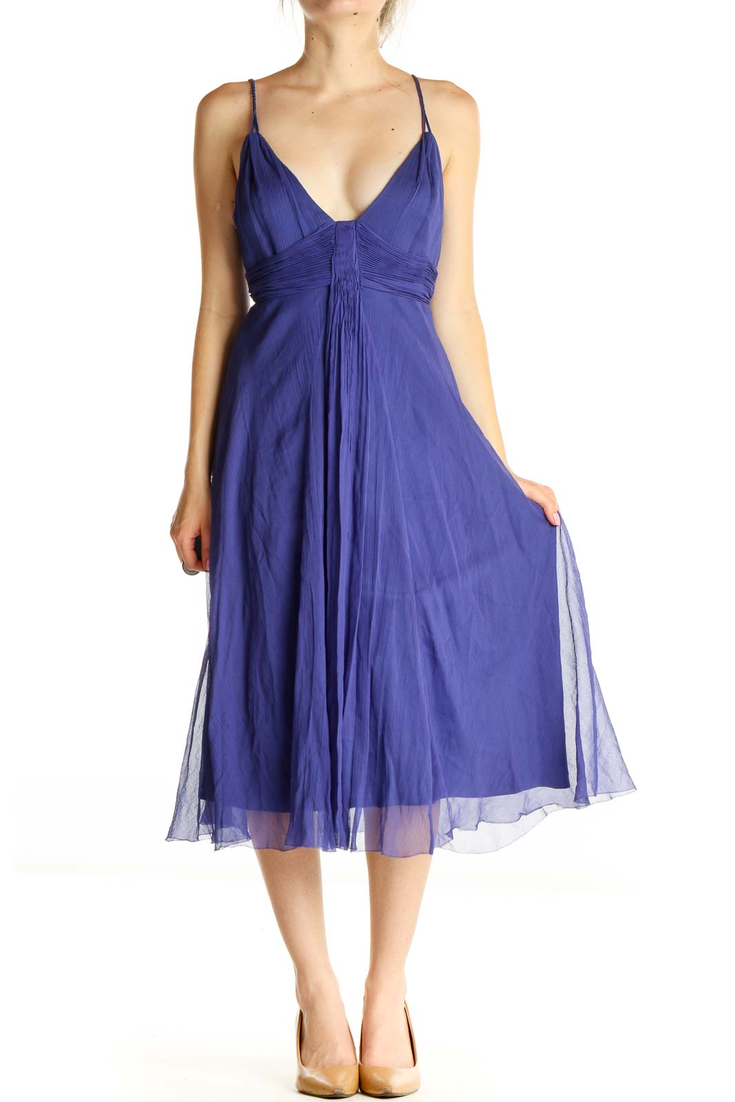 Purple Solid Holiday Fit & Flare Dress Front