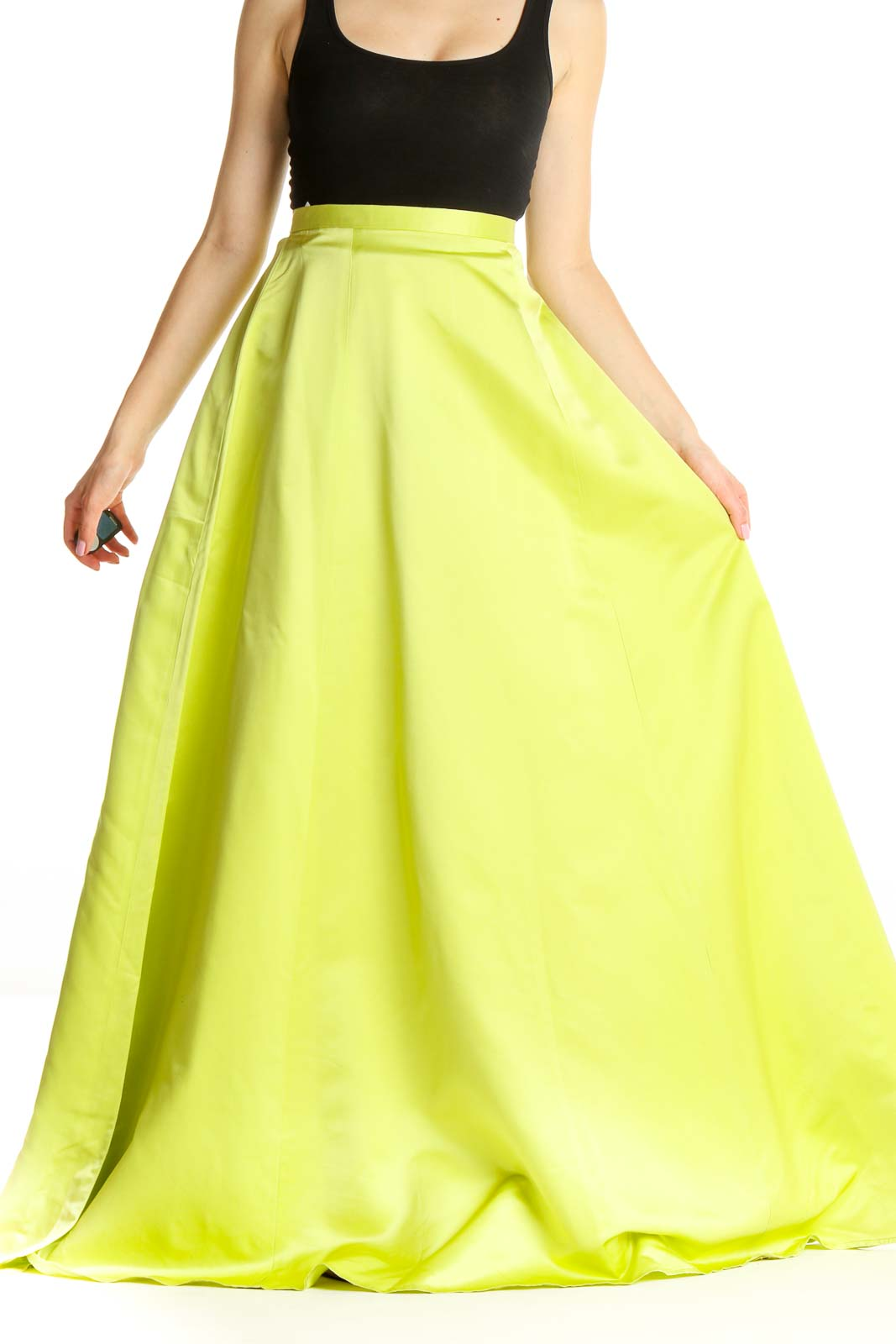 Yellow Green Formal Flared Skirt Front