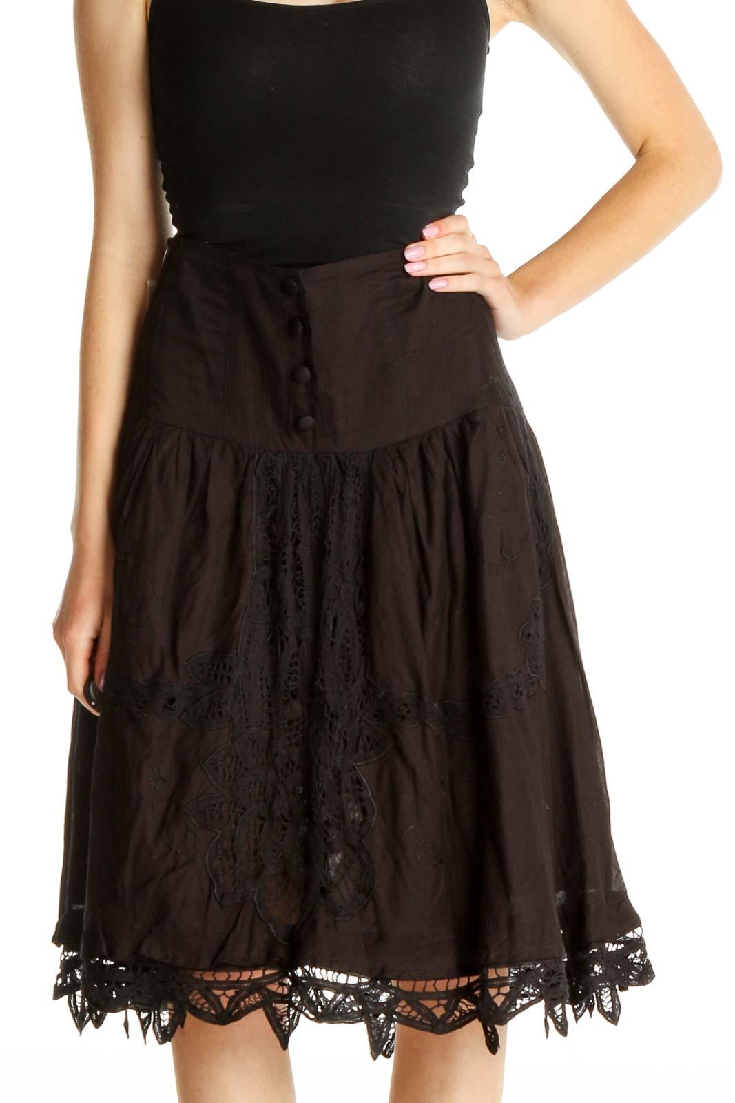 Black Brunch Flared Lace Skirt Front