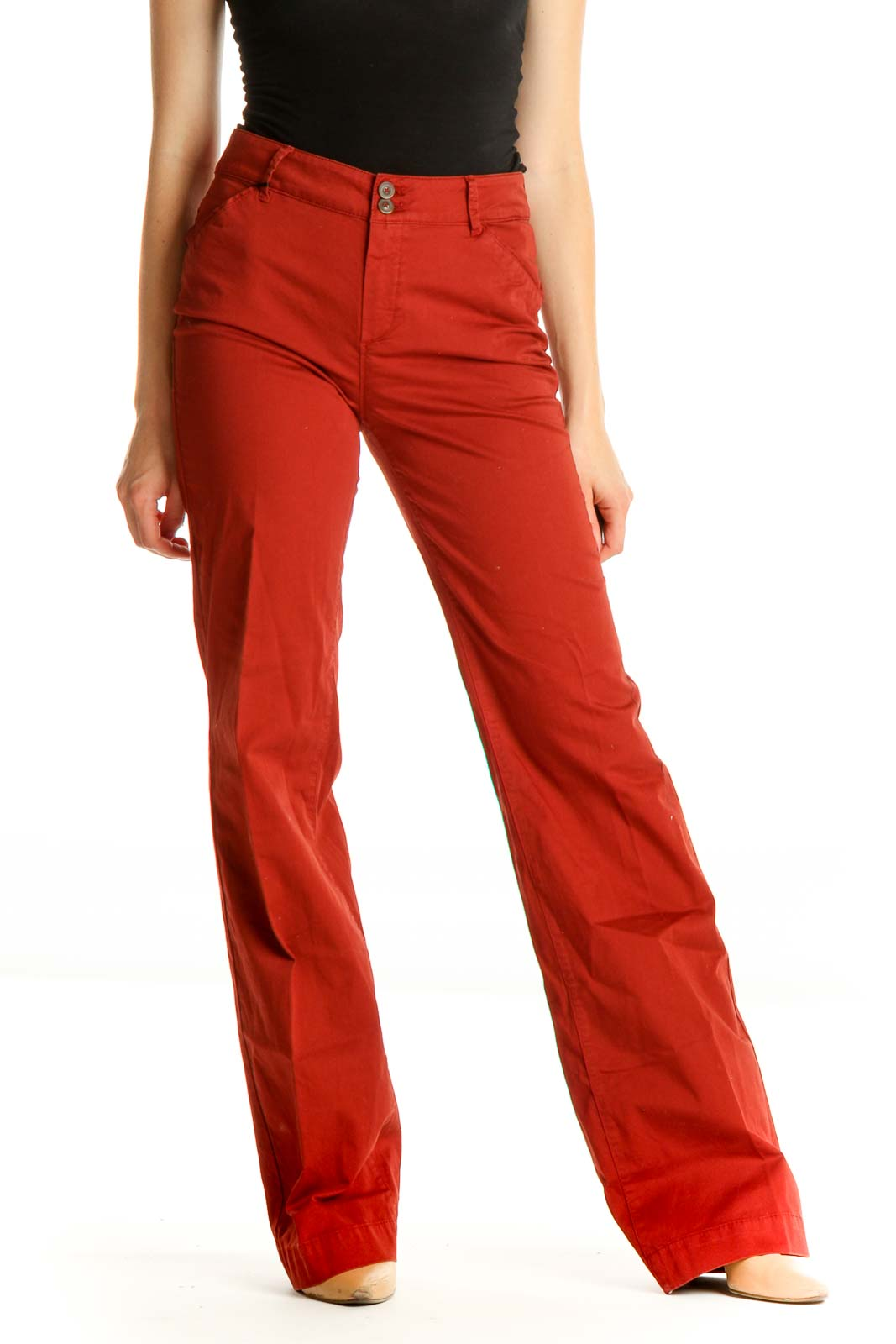 Red Solid Chic Trousers Front