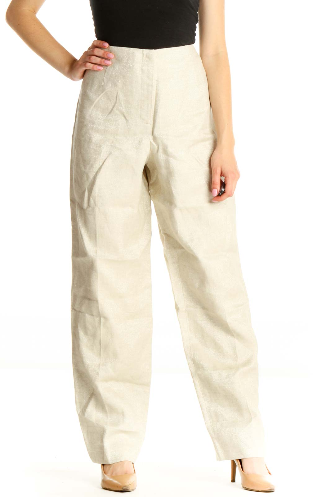 Beige Shimmer Classic Trousers Front