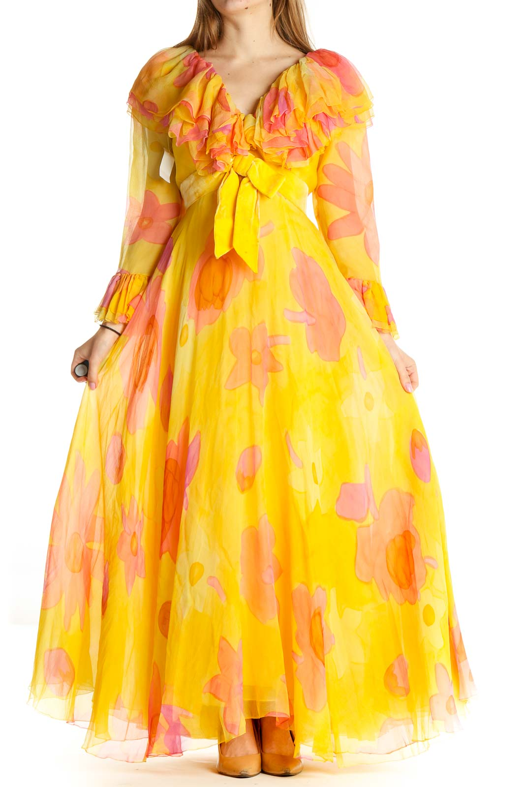 Yellow Floral Retro Fit & Flare Dress Front