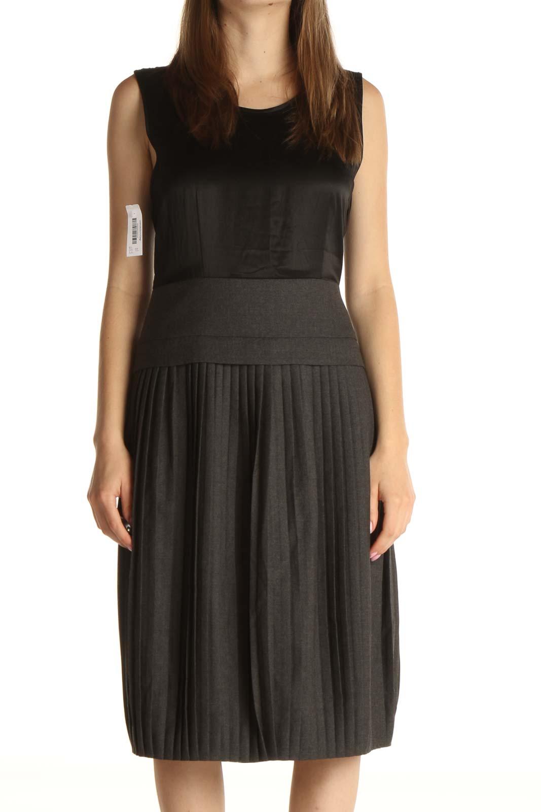 Black Solid Work Dress Front