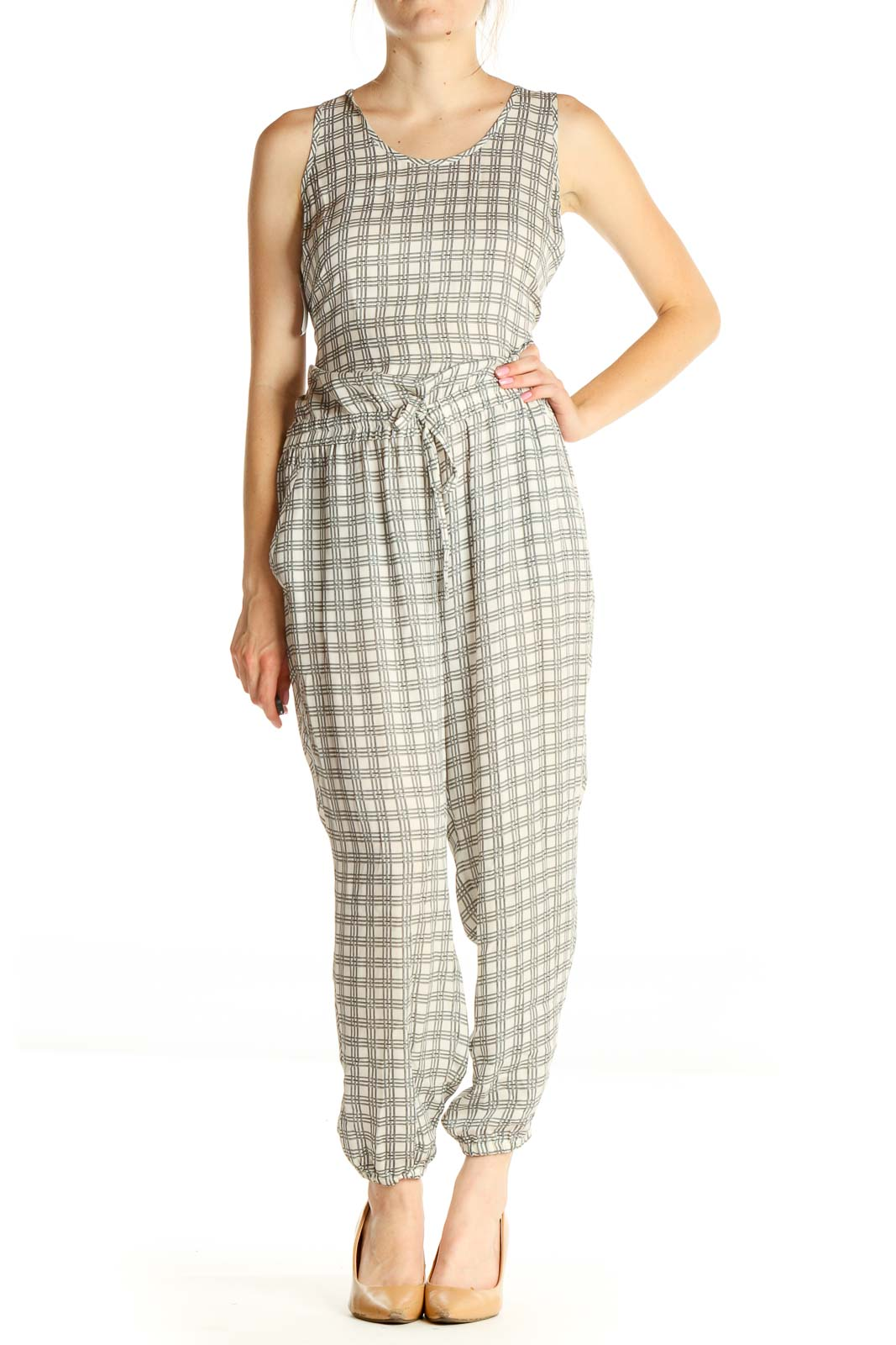 Gray Checkered Jumpsuit Front