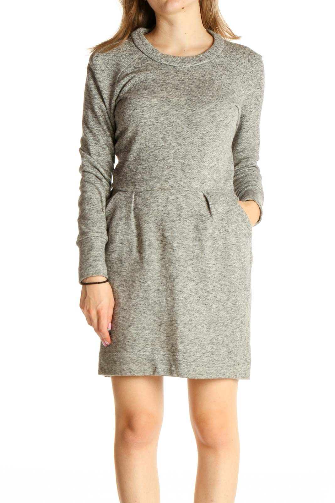 Gray Textured Day Fit & Flare Dress Front