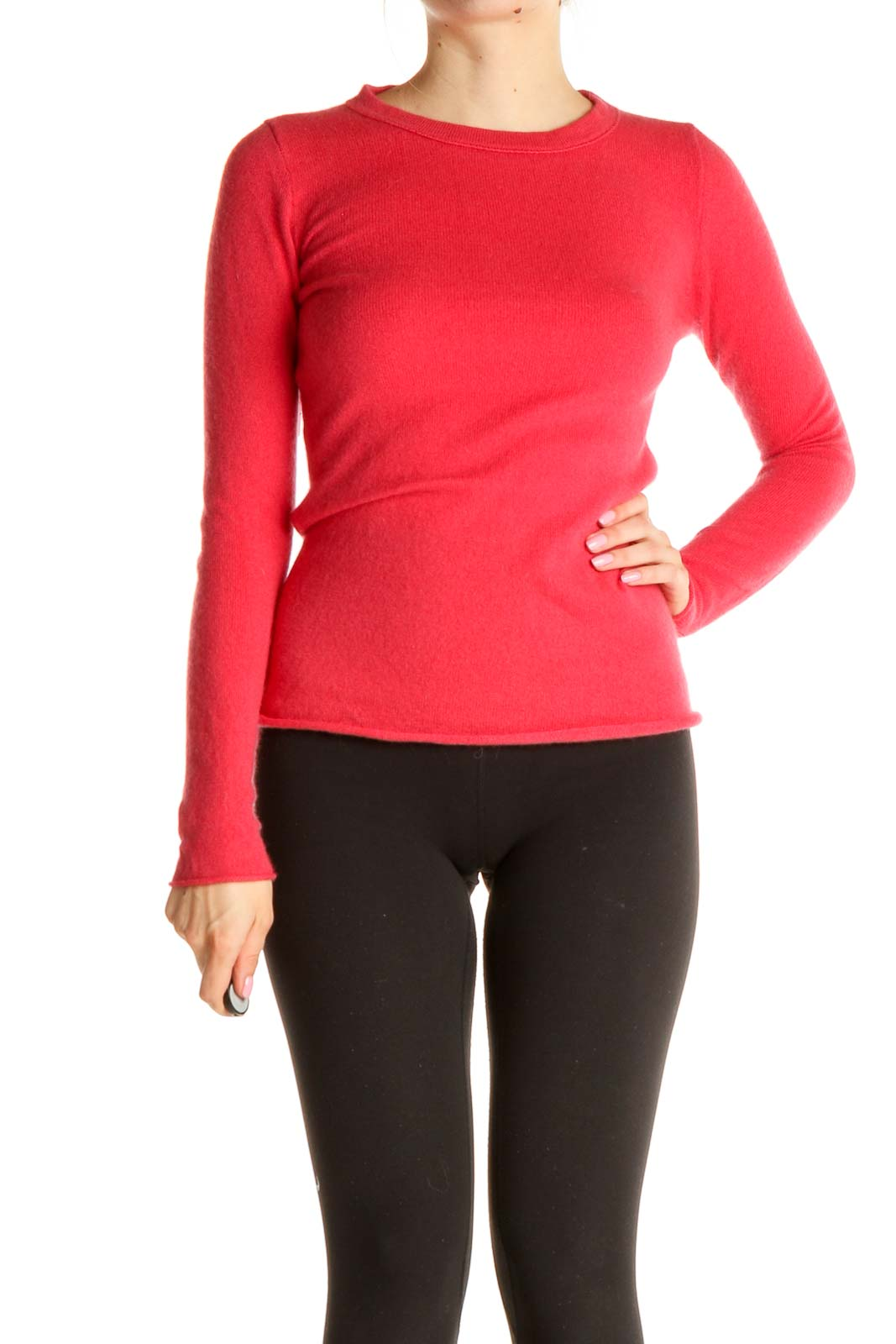 Pink Solid Classic Cashmere Sweater Front