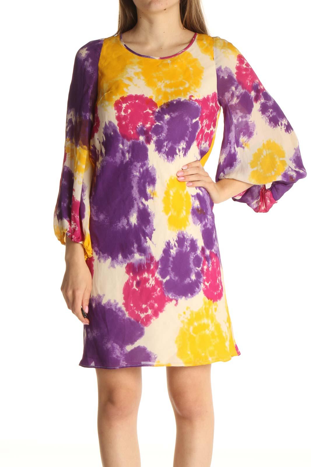Purple Printed Day Sheath Dress Front
