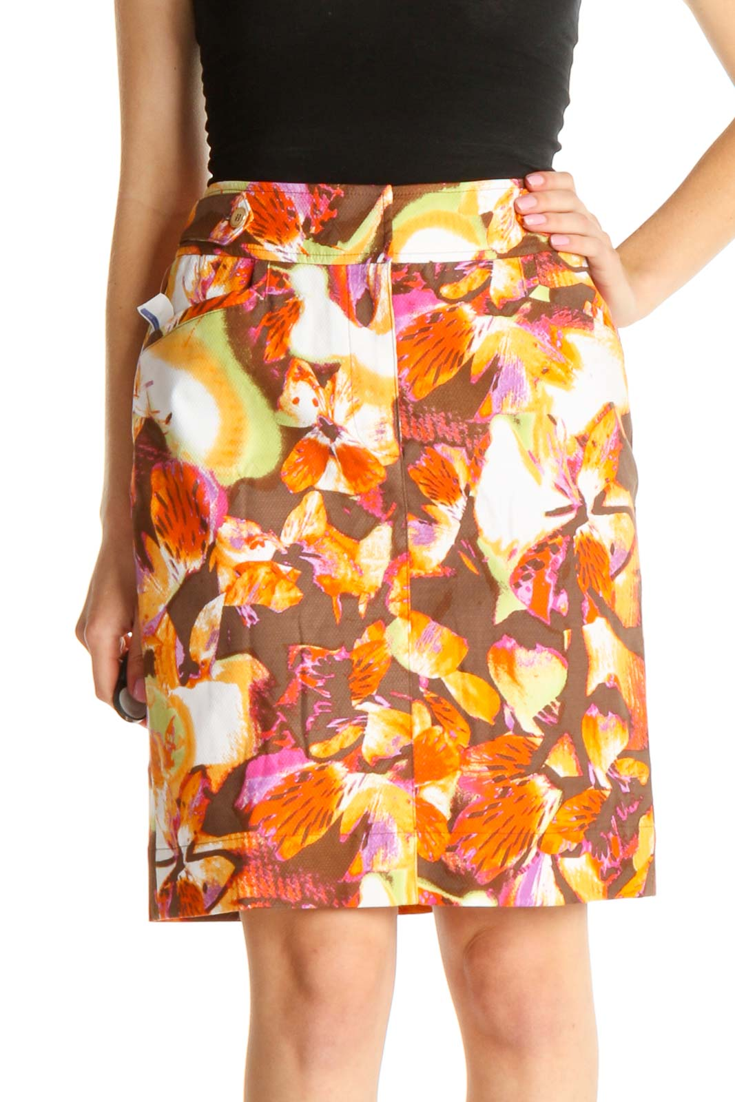 Brown Printed Chic A-Line Skirt Front
