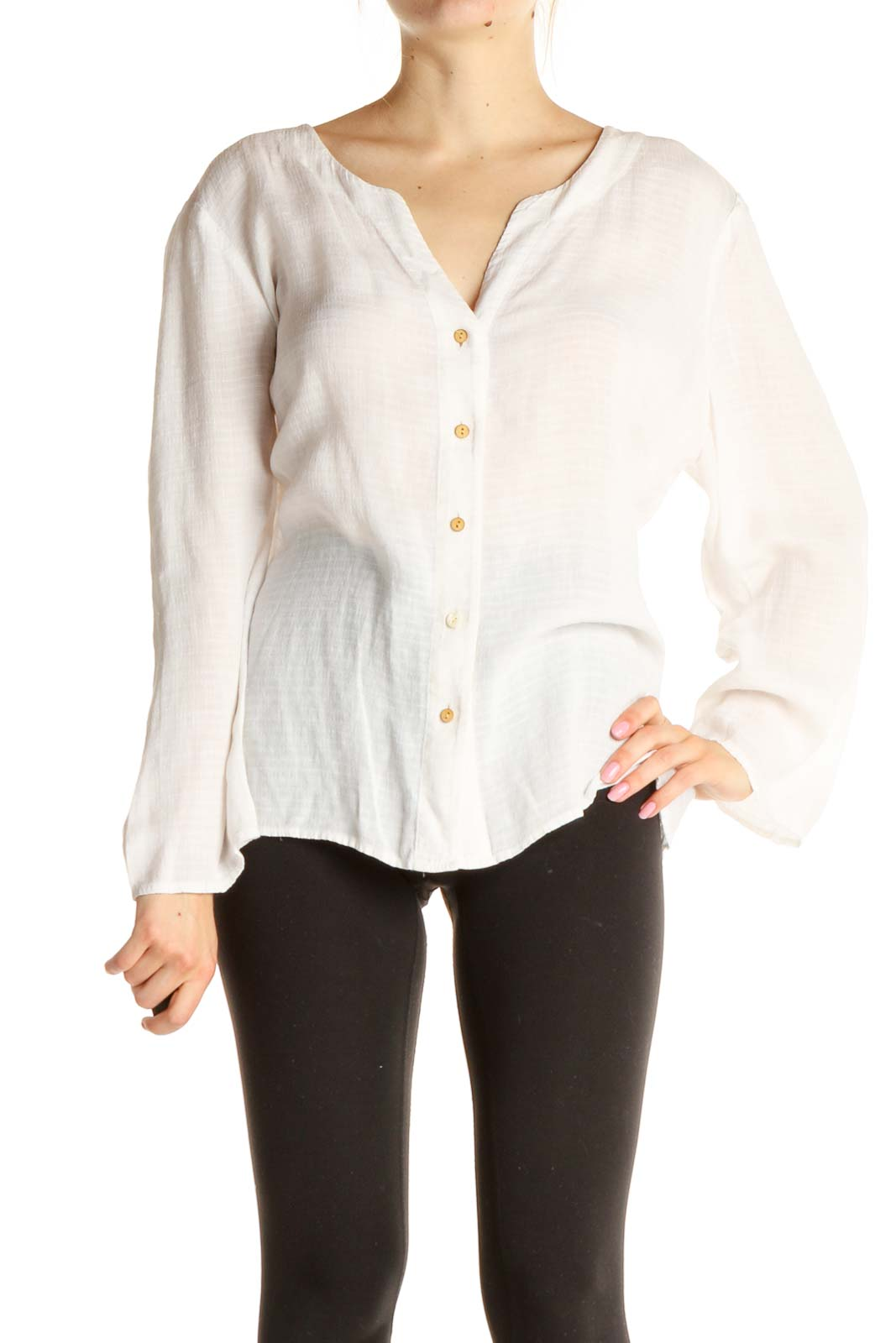 White Solid All Day Wear Blouse Front