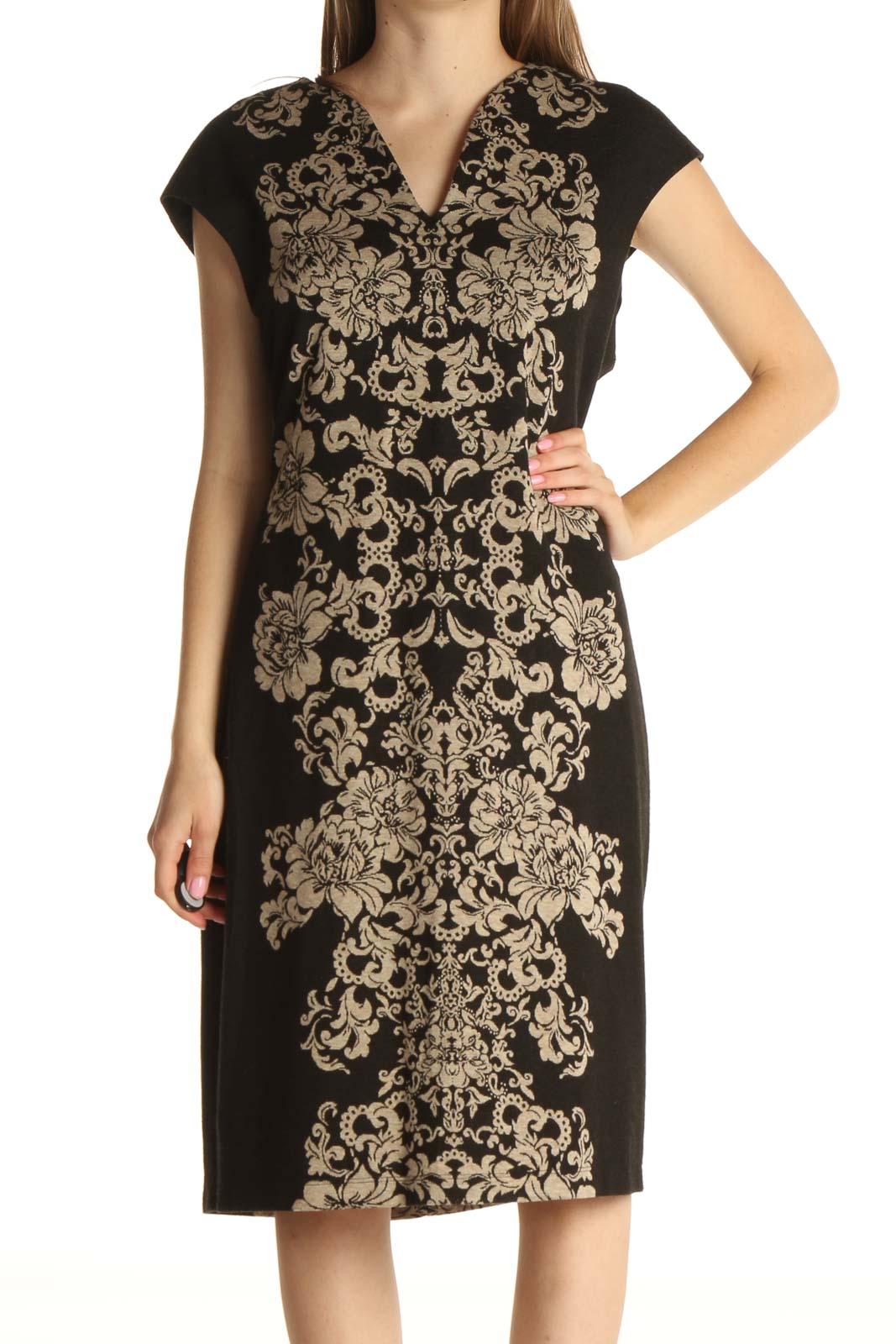 Black Printed Work Sheath Dress Front