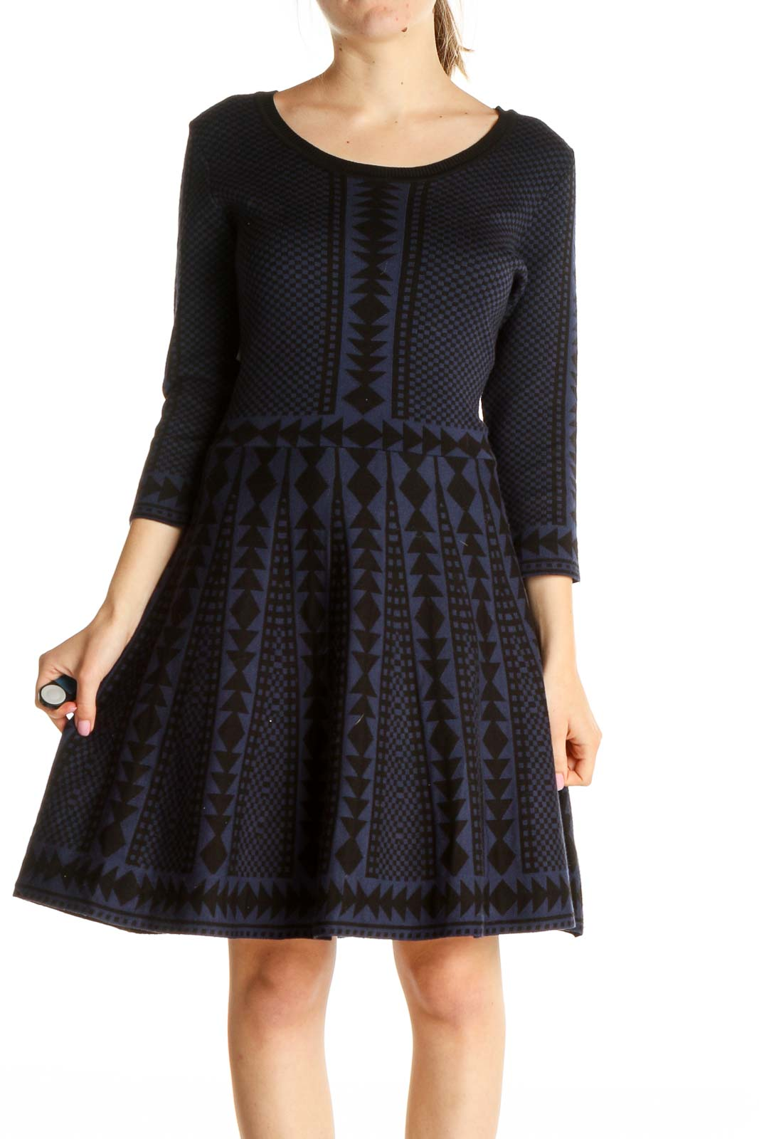 Blue Textured Classic Fit & Flare Dress Front