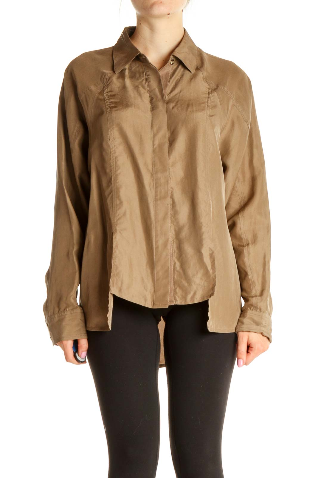 Brown Silk Solid Casual Blouse Front