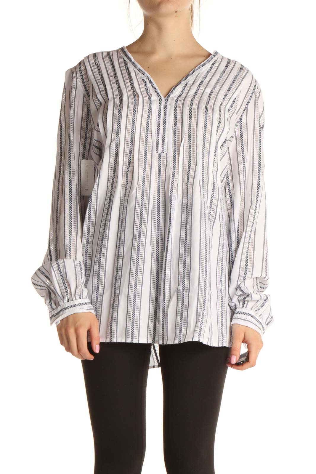 White Striped Brunch Blouse Front