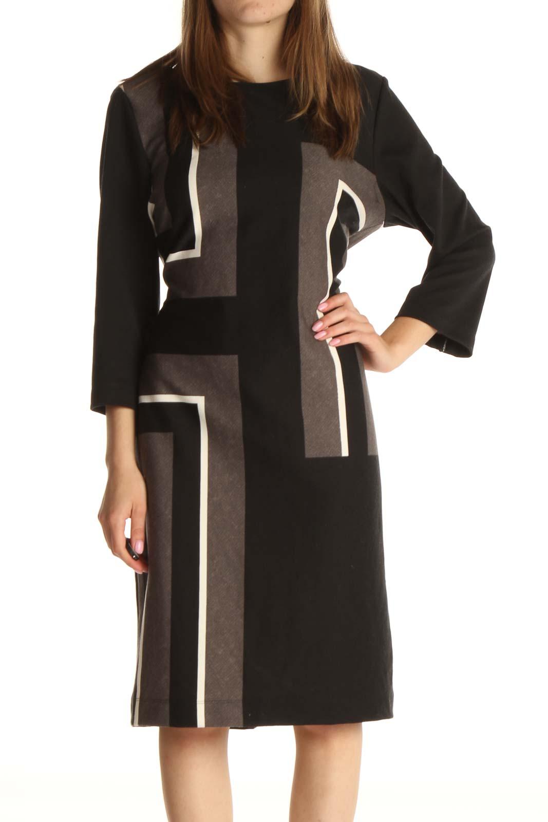 Black Solid Work Column Dress Front