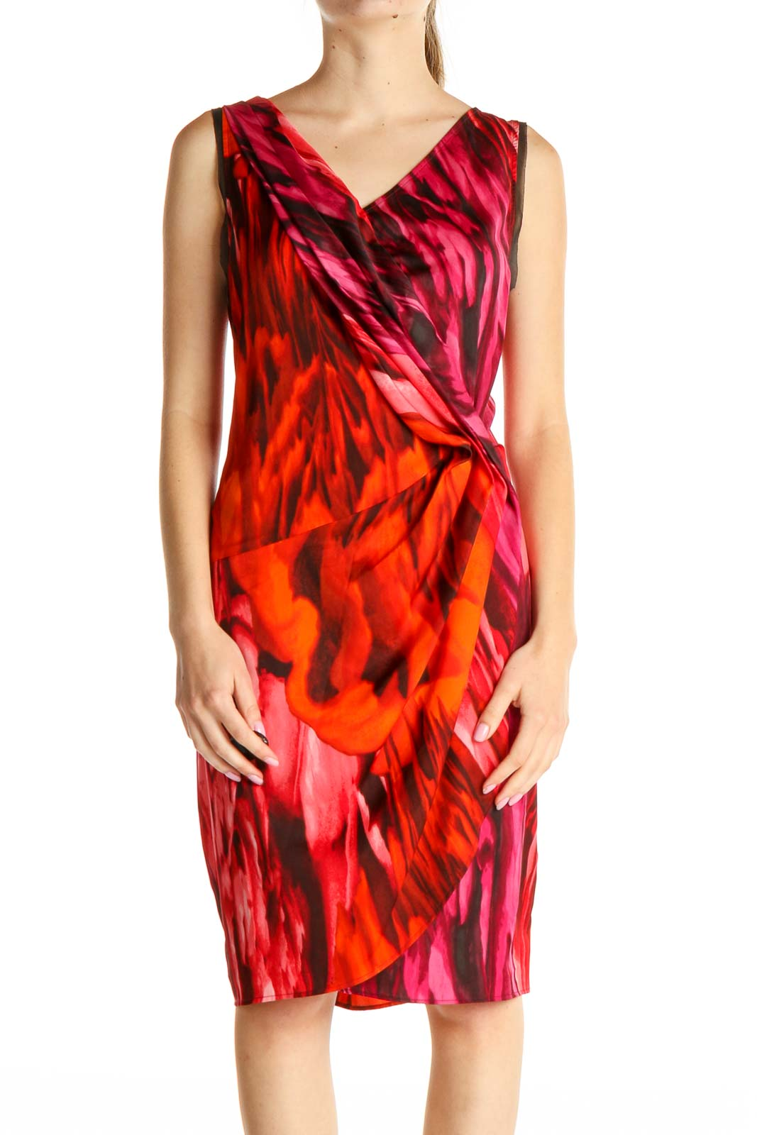 Red Day Sheath Dress Front
