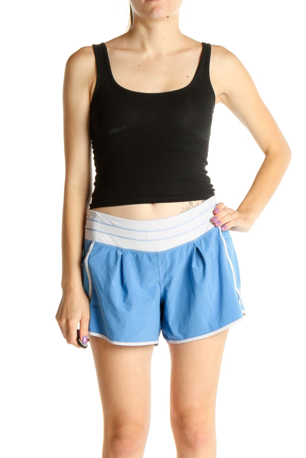 White Colorblock Activewear Shorts Front