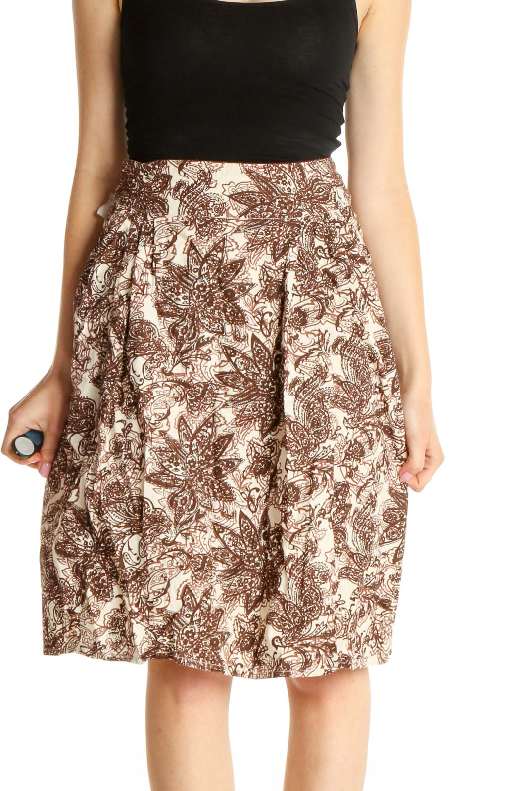 Beige Printed Party Pencil Skirt Front