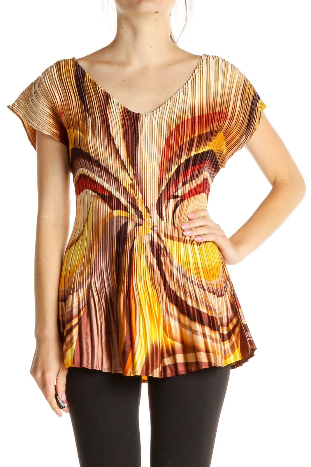 Brown Printed Blouse Front