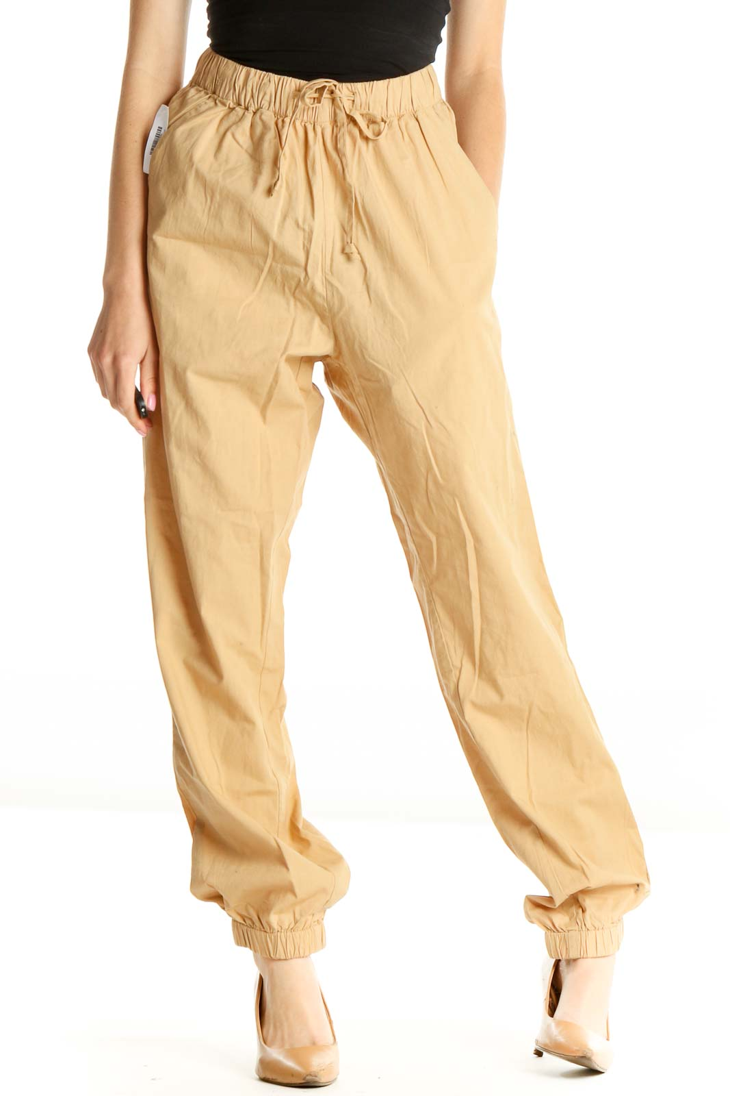 Beige Solid All Day Wear Cargos Pants Front