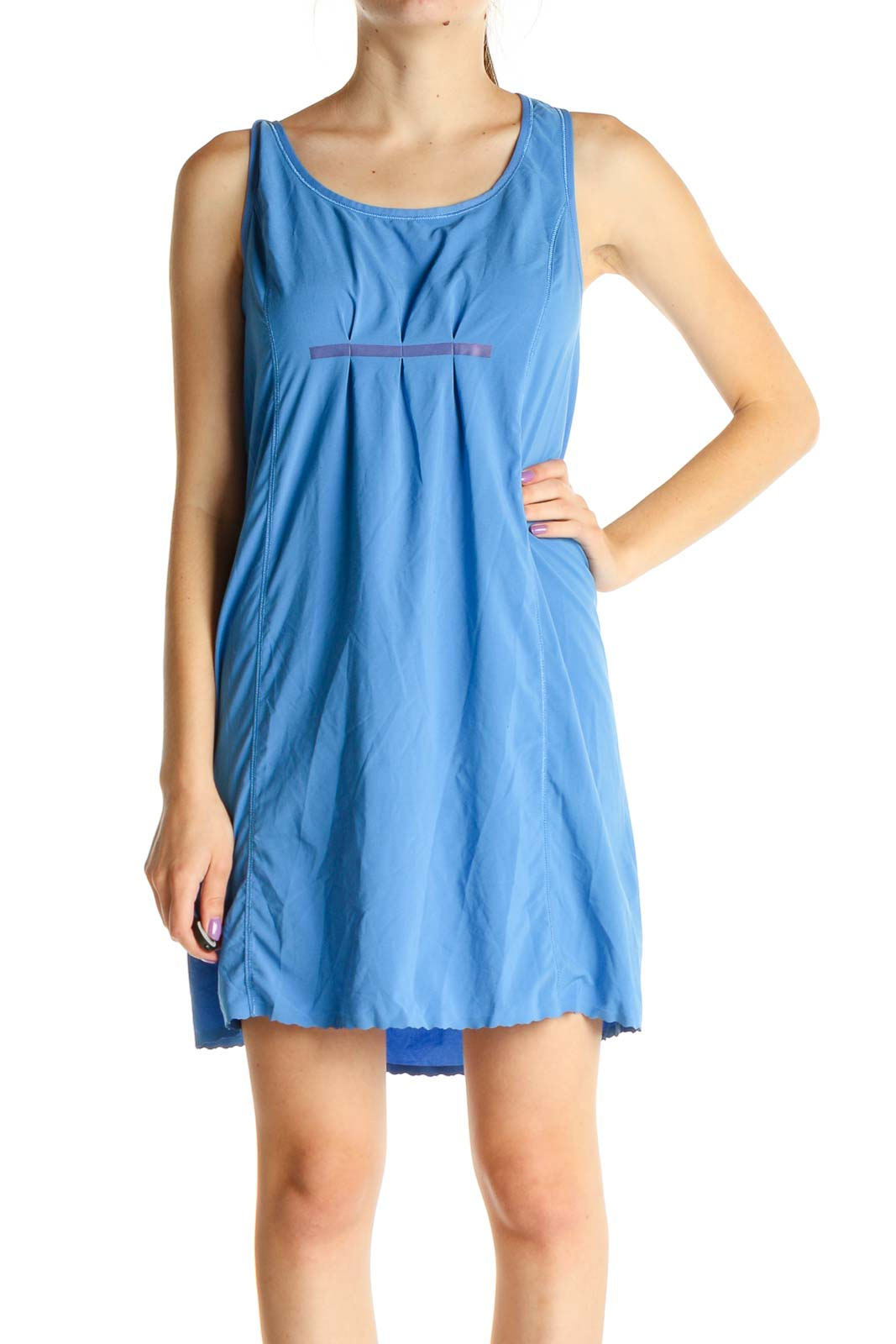 Blue Solid Activewear Dress Front
