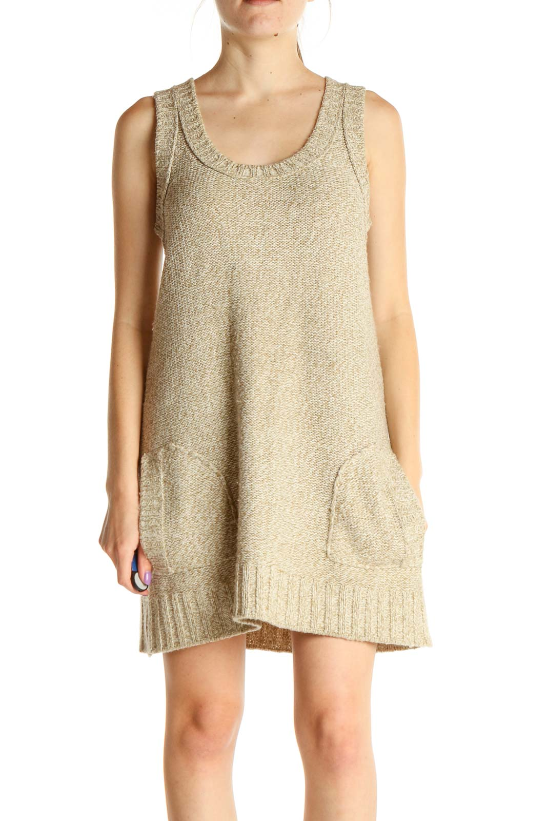 Beige Textured Bohemian Fit & Flare Dress Front