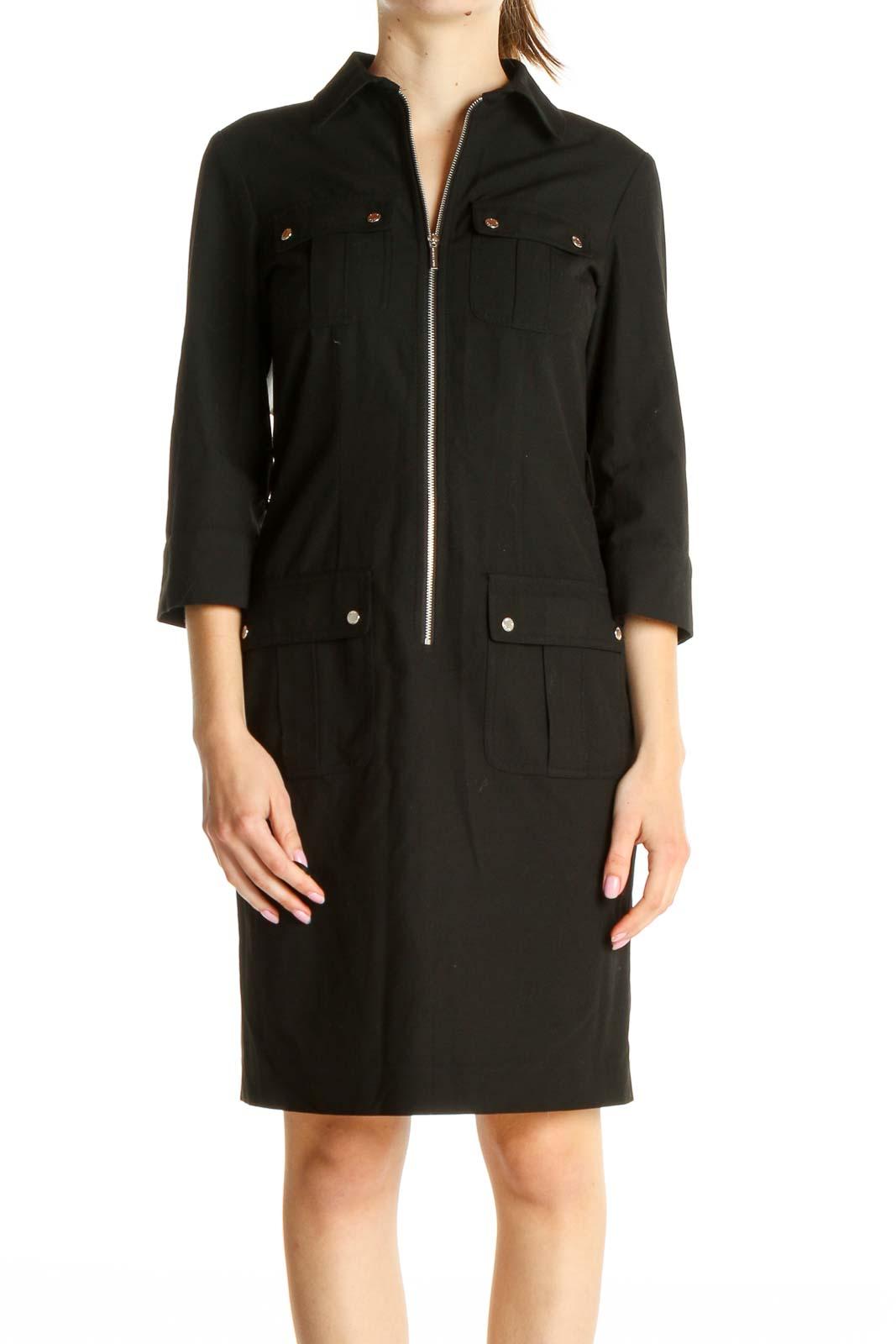 Black Solid Dress Front