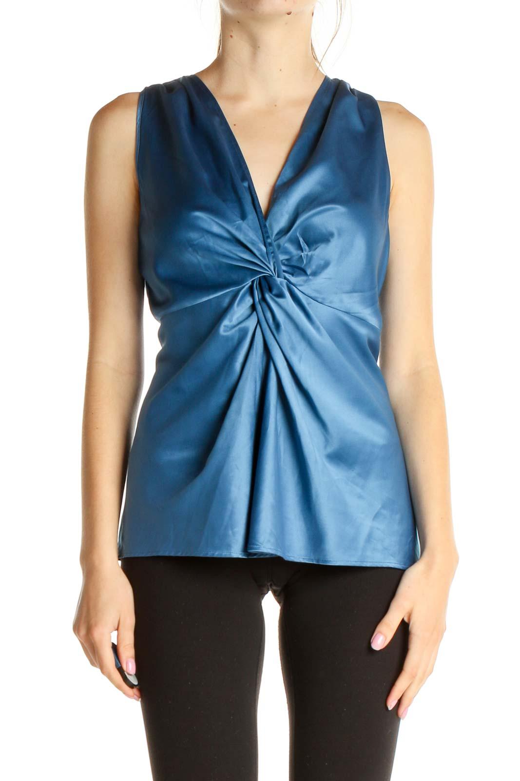 Blue Solid Brunch Blouse Front