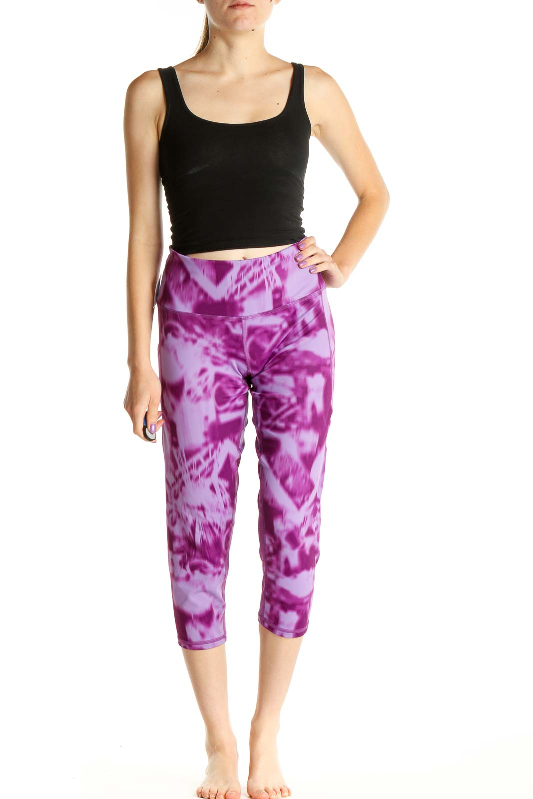 Pink Tie And Dye Activewear Leggings Front