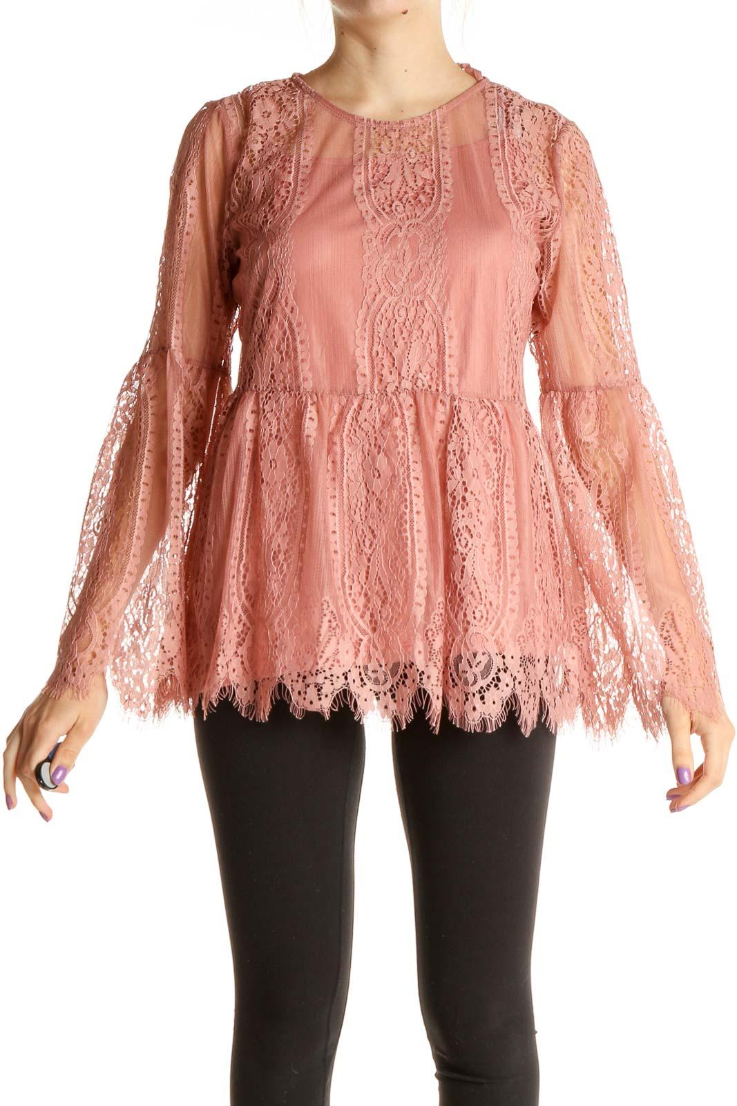 Pink Lace Bohemian Blouse Front