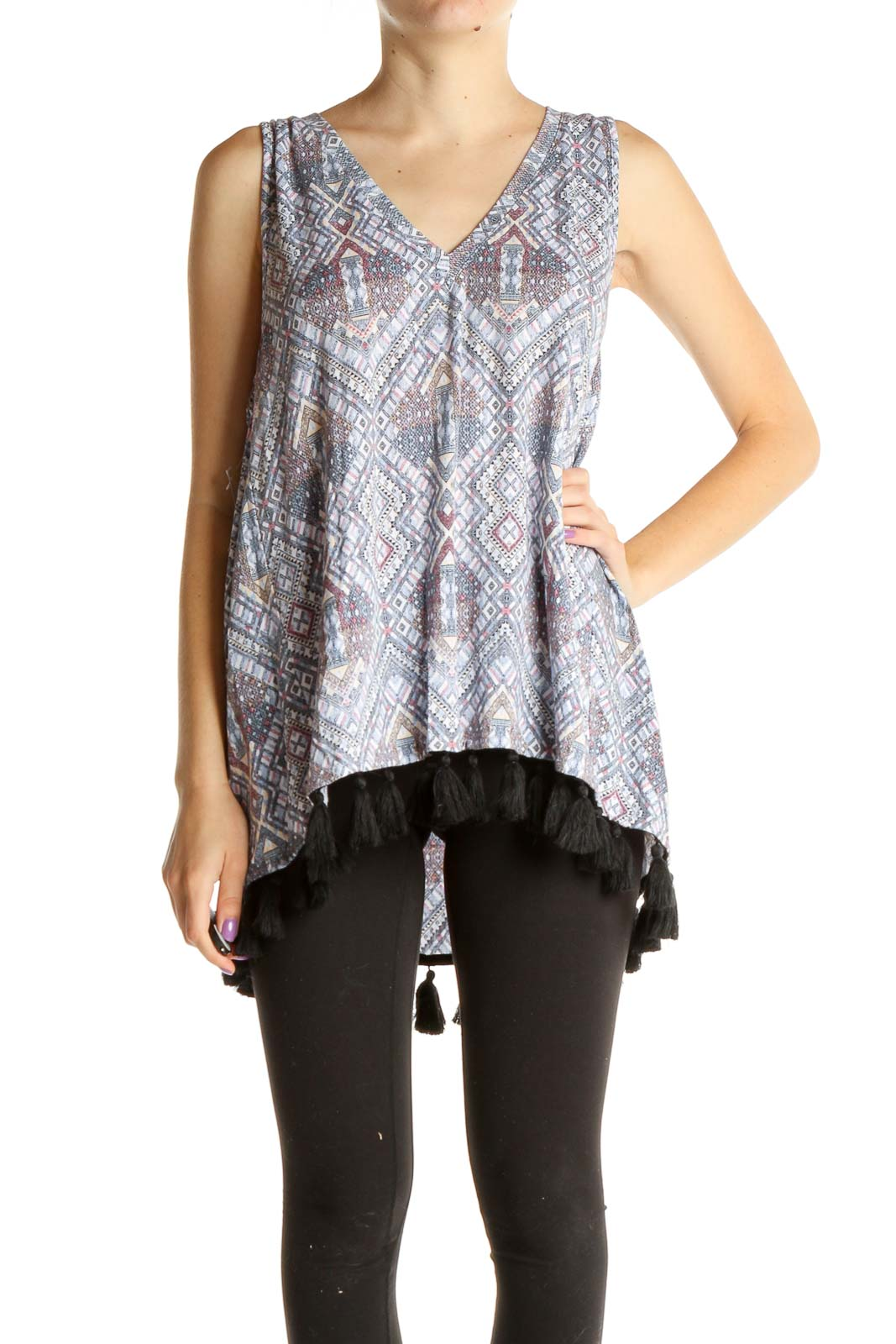 Gray Printed Blouse Front